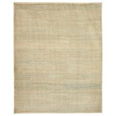 "Contemporary Cream and Light Blue Wool ""Rain"" Carpet"