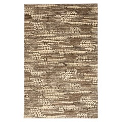 """Neutral and Architectural Hand-Knotted Wool Carpet Titled """"Riverbed"""""""
