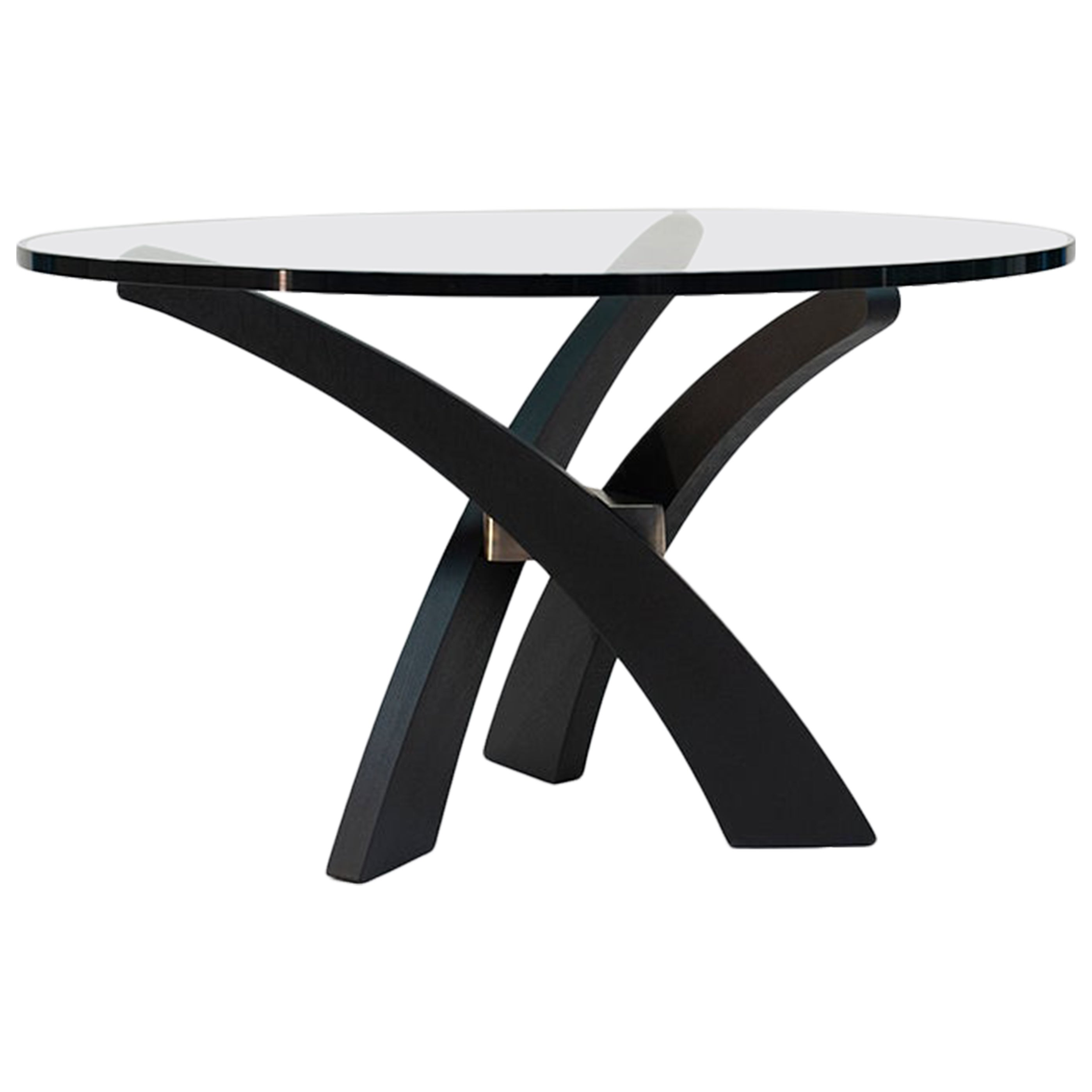 Mid Century Modern black Oakwood three-leg, round glass top dinning table T88
