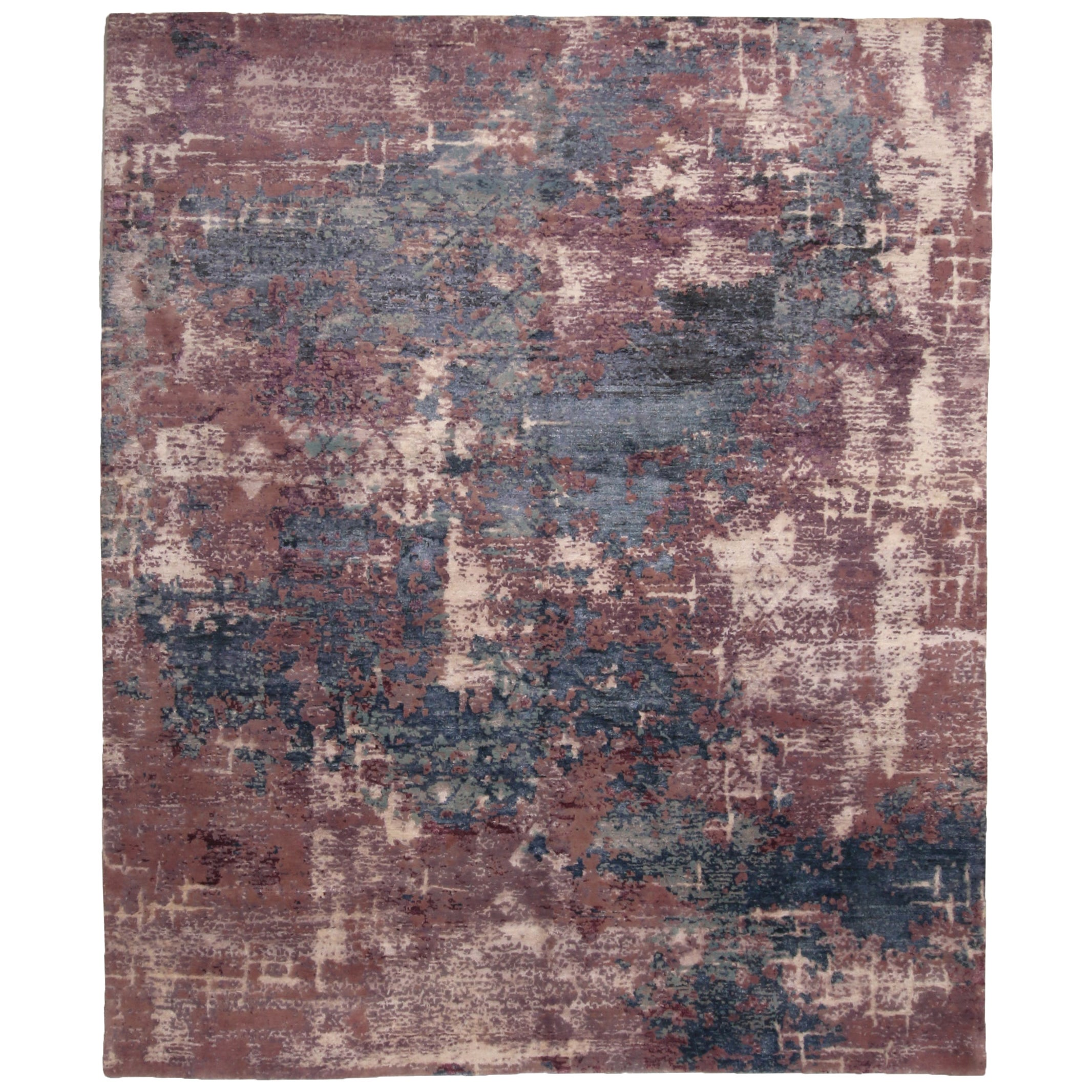 Rug & Kilim's Contemporary Blue and Purple Wool and Silk Rug
