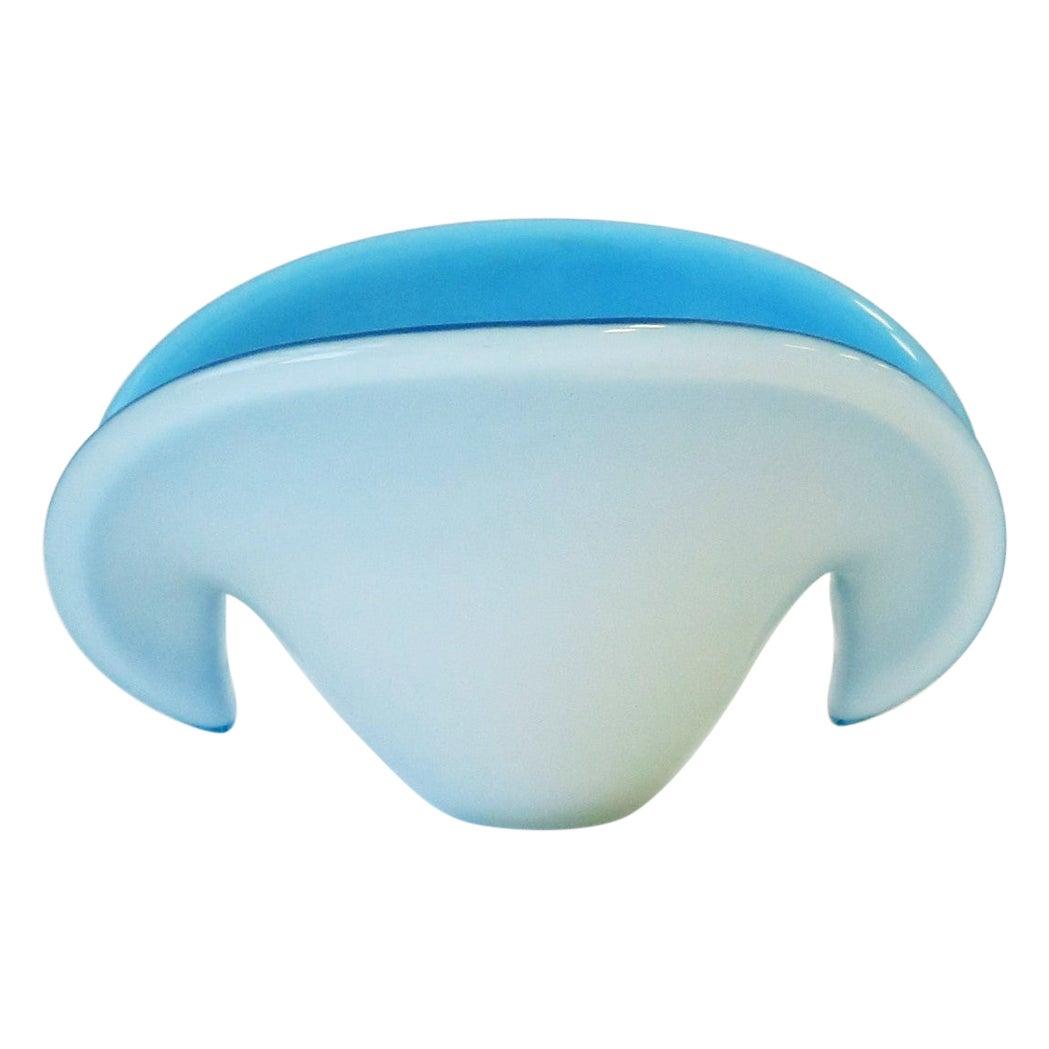 Modern Blue and White Italian Murano Art Glass Sea Shell Bowl Vase