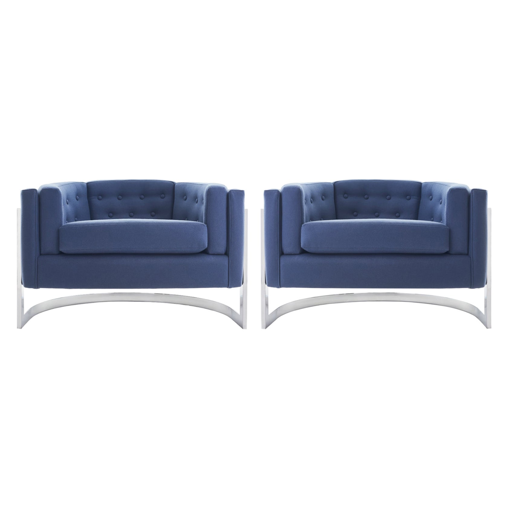 Midcentury Chrome Jules Heumann for Metropolitan Cantilever Lounge Chairs