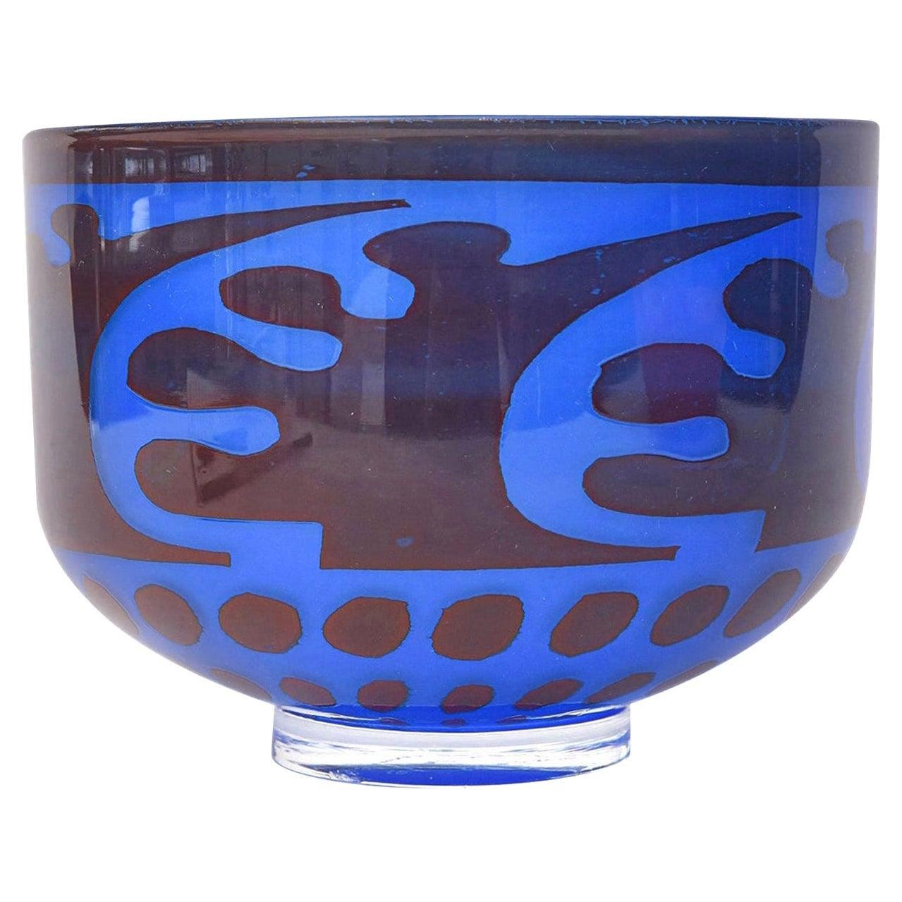 Orrefors Graal Glass Cobalt Blue Bowl by Gunnar Cyren Vintage
