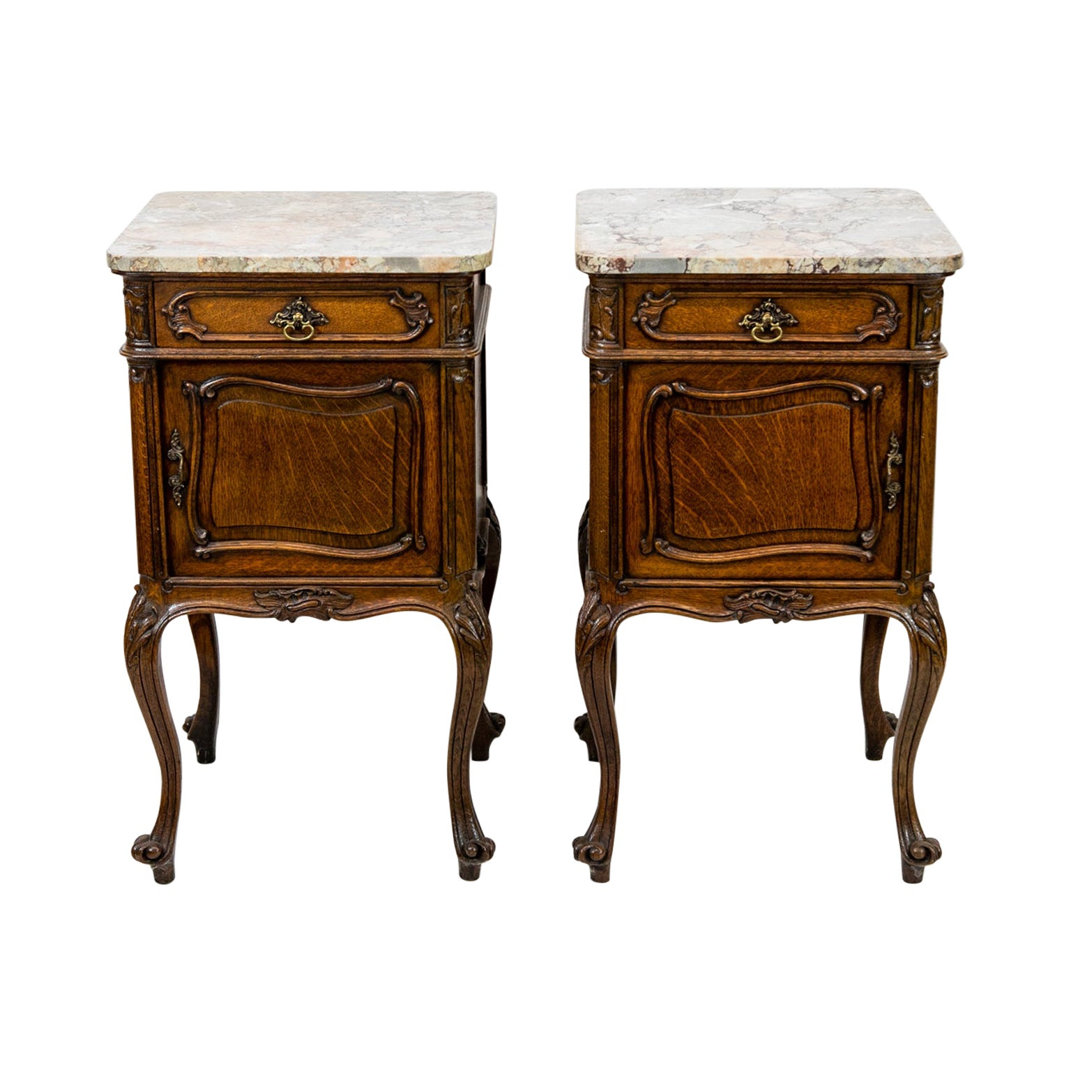 Pair of French Marble-Top Commodes