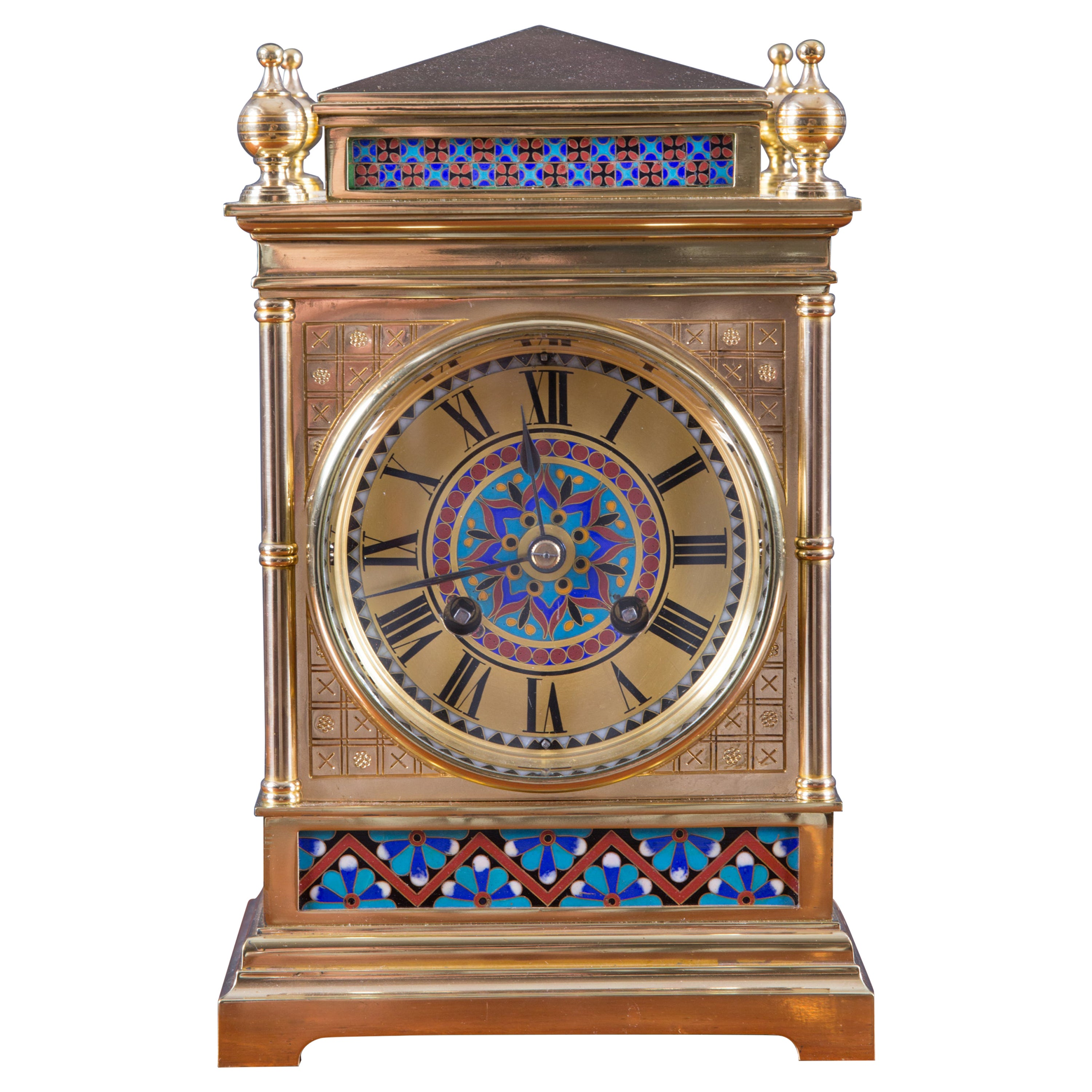 French Ormolu Mantel Clock with Champleve Decoration by Japy Freres