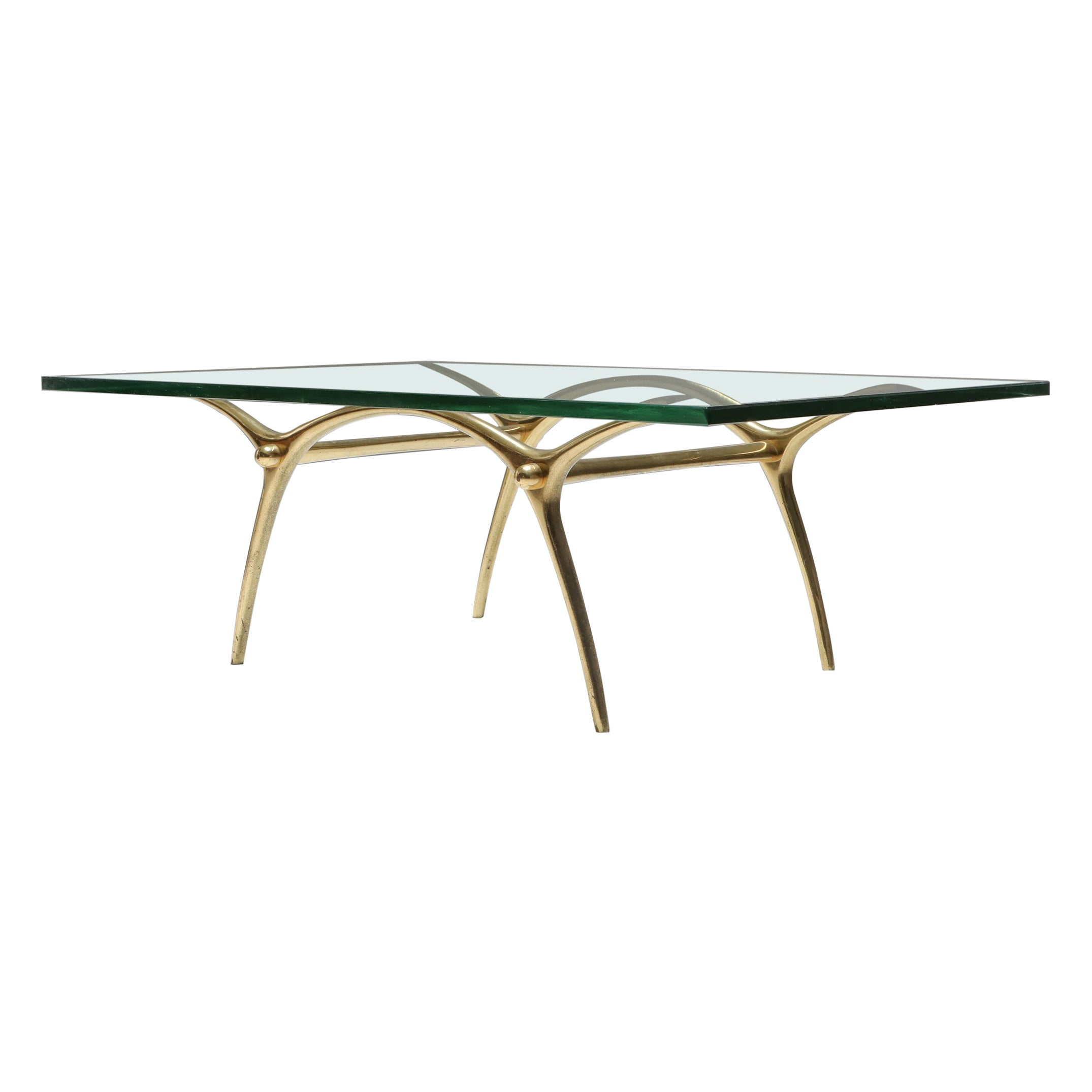Bronze Hollywood Regency Coffee Table by Kouloufi
