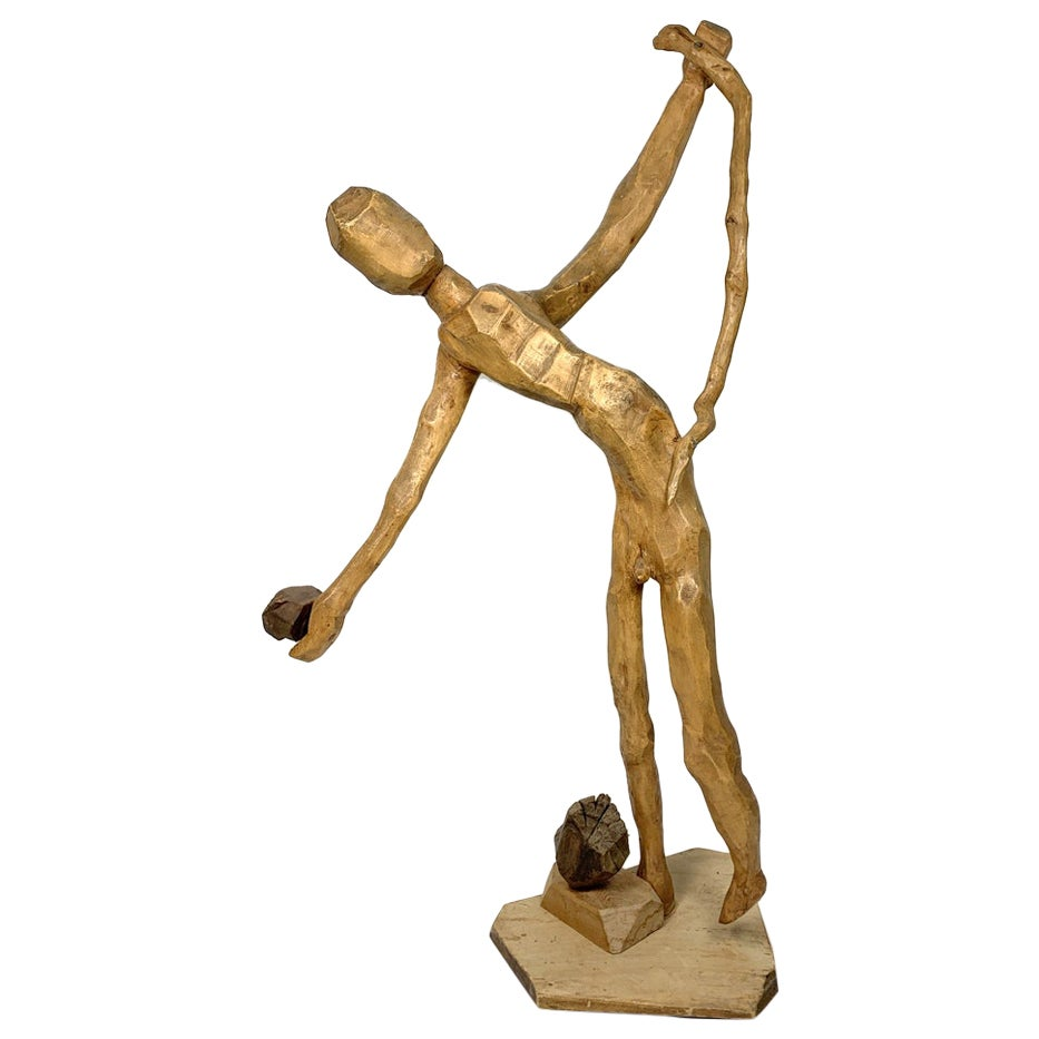 Hand Carved Large Scale Wooden Figure, 1960s