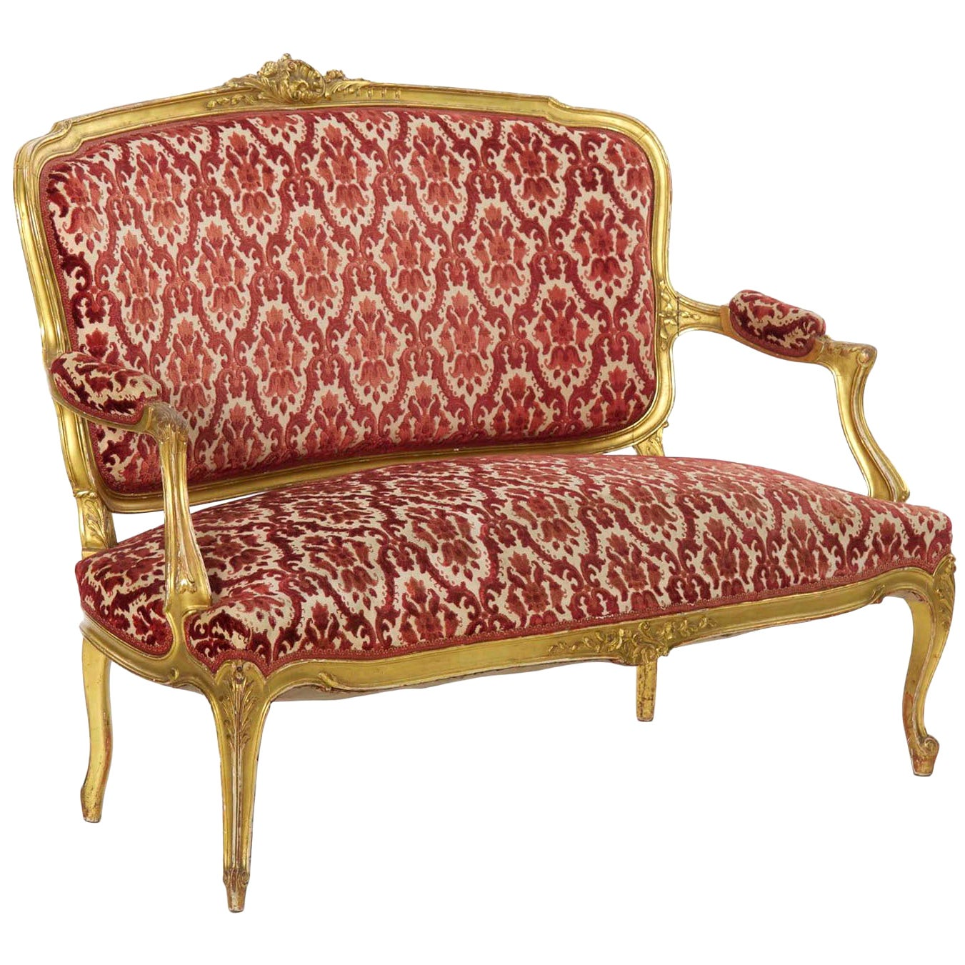 20th Century French Louis XV Style Carved Giltwood Antique Canapé Settee Sofa