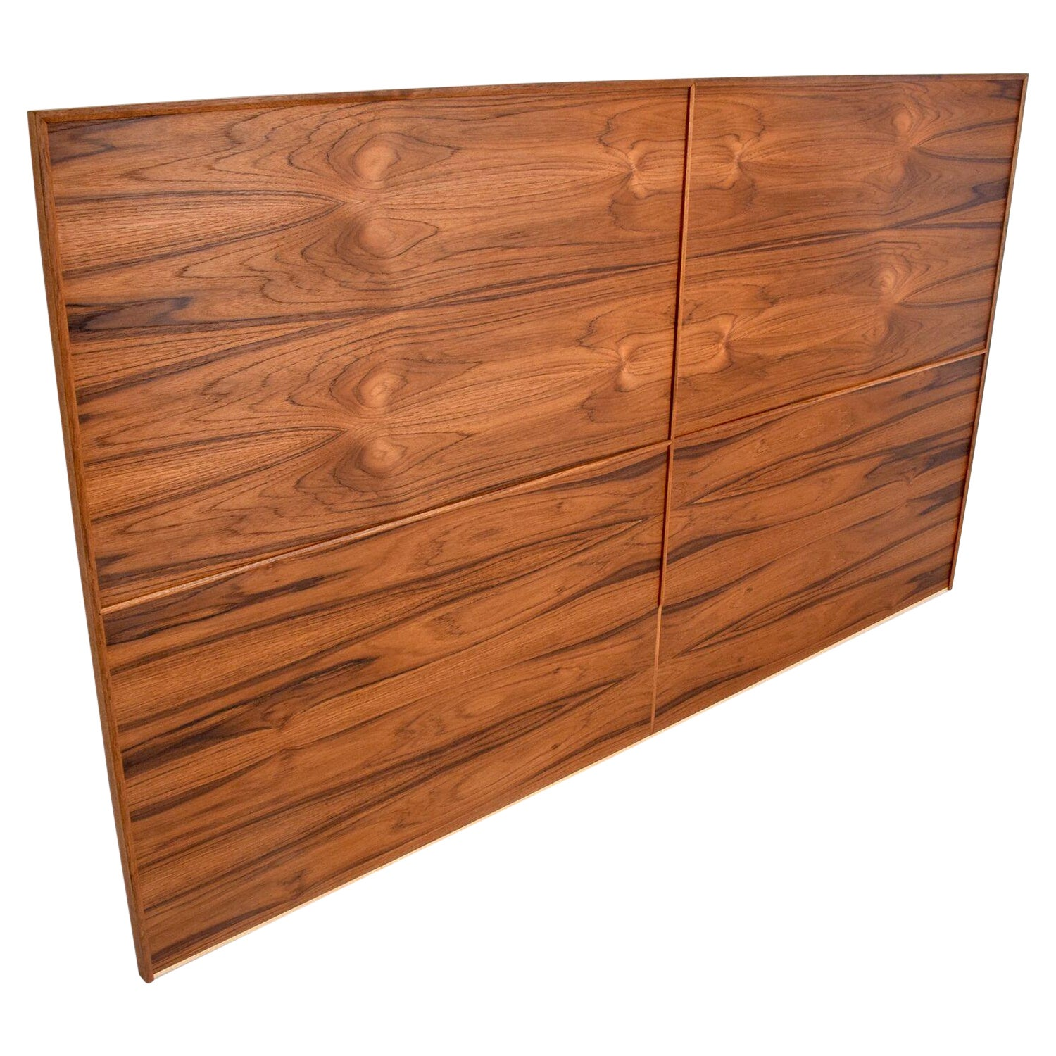 Mid-Century Modern Custom Queen Headboard in Teak Wood by Ambianic