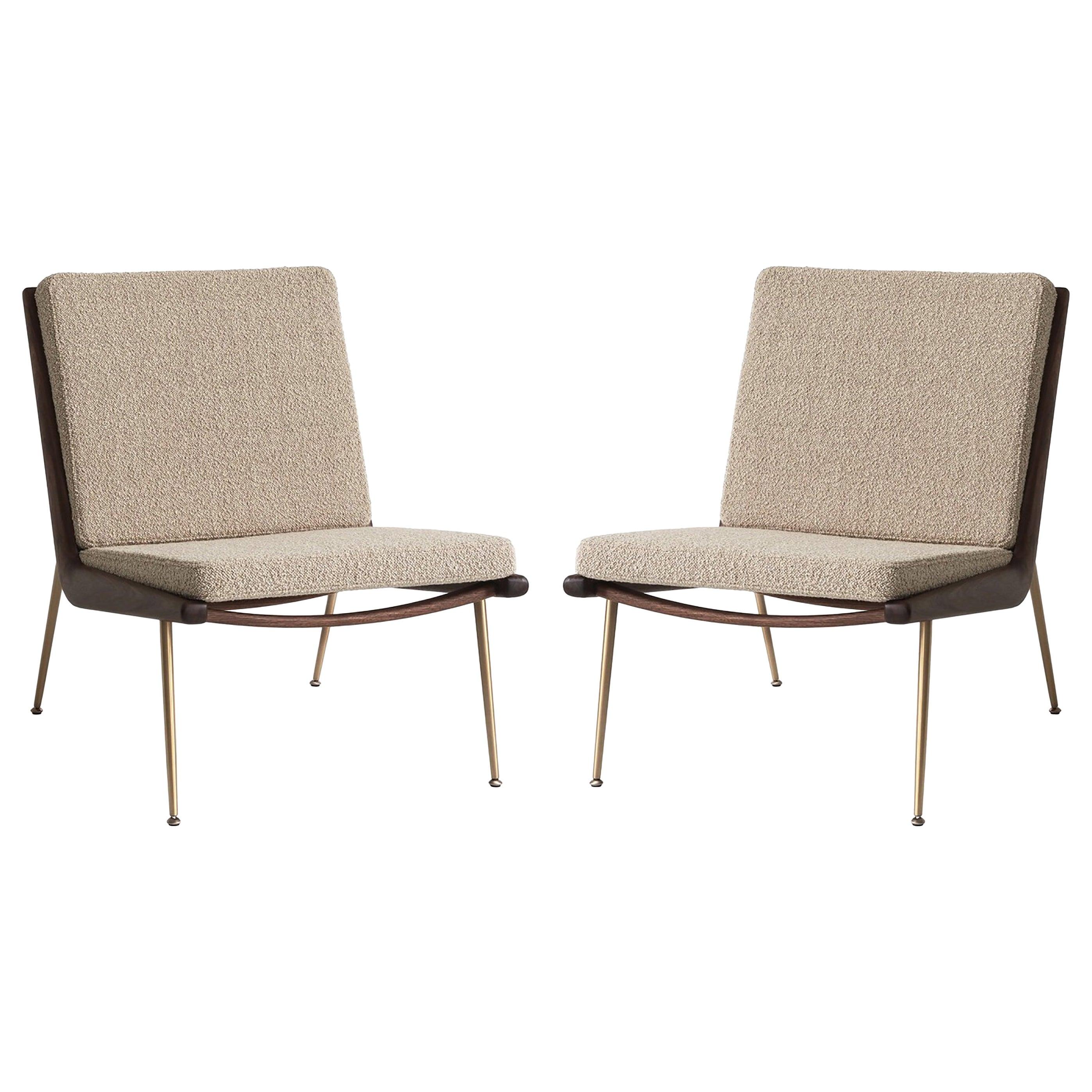 Mid-Century Modern Scandinavian Pair of Boomerang Lounge Chair