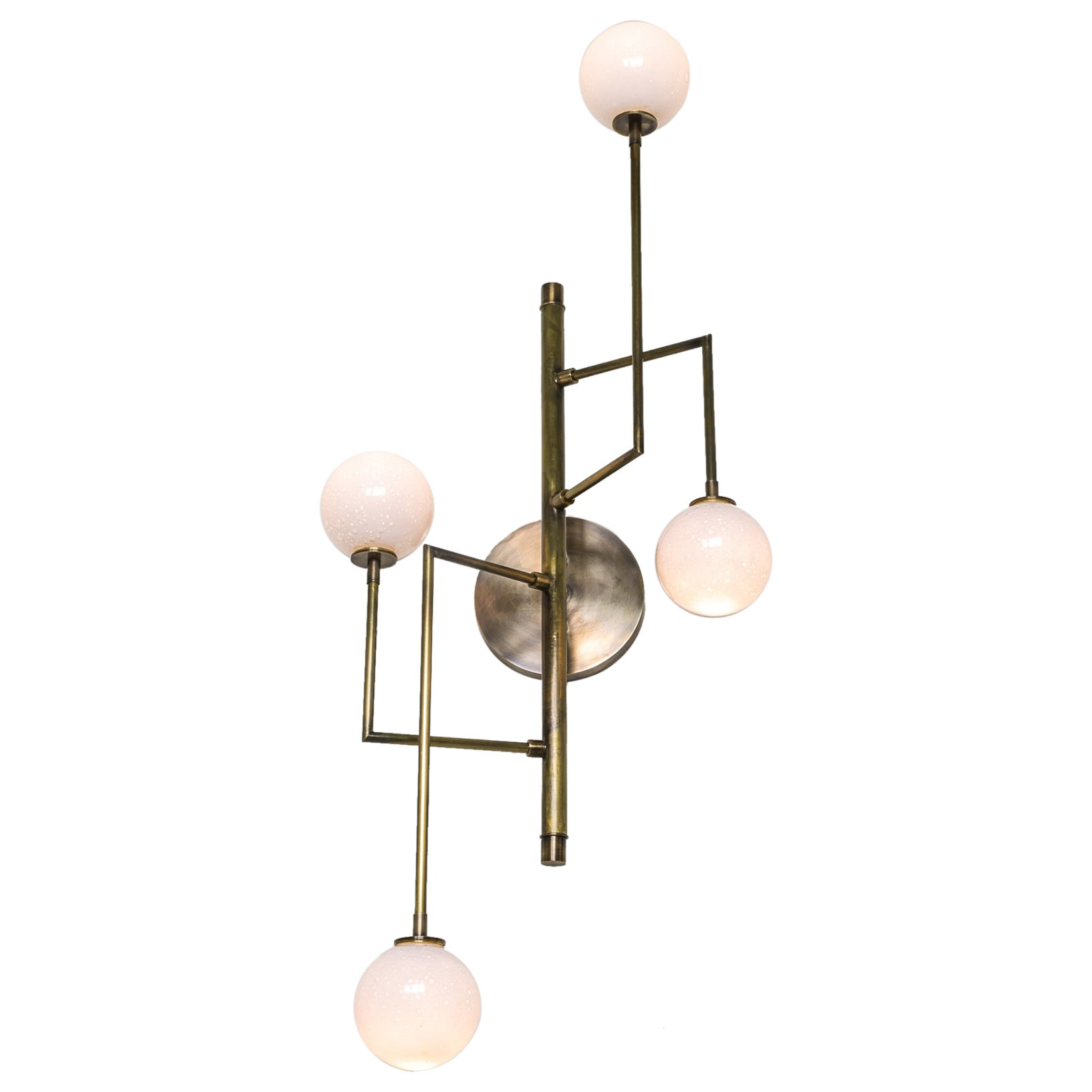 Halo Sconce 4, Brass, Hand Blown Glass Contemporary Wall Sconce, Kalin Asenov