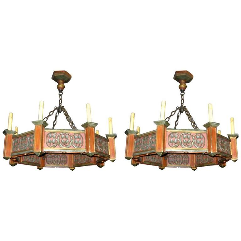 Pair of Painted Wood Chandeliers
