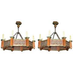 Pair of Painted Wood Chandeliers