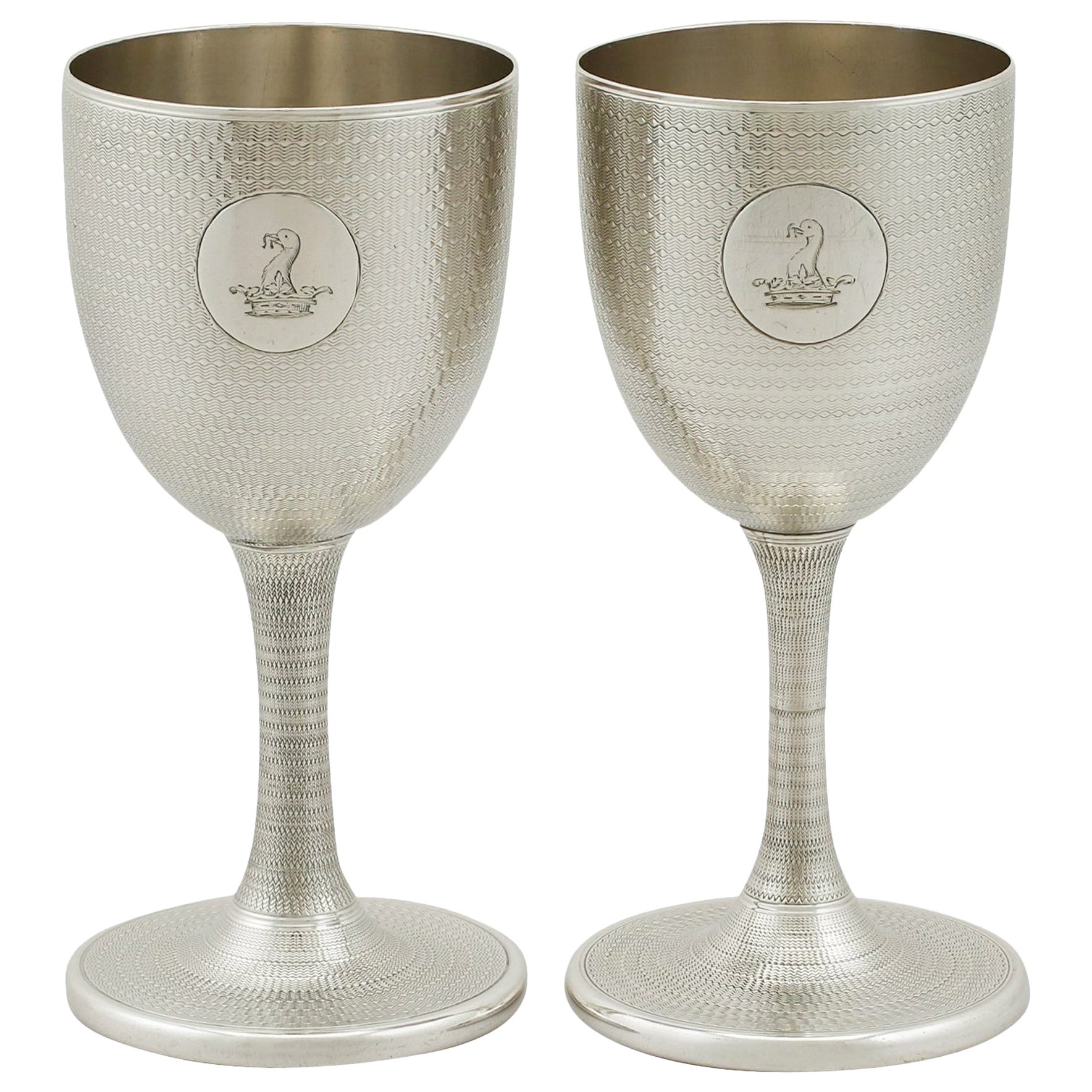 Antique Victorian Sterling Silver Wine Goblets