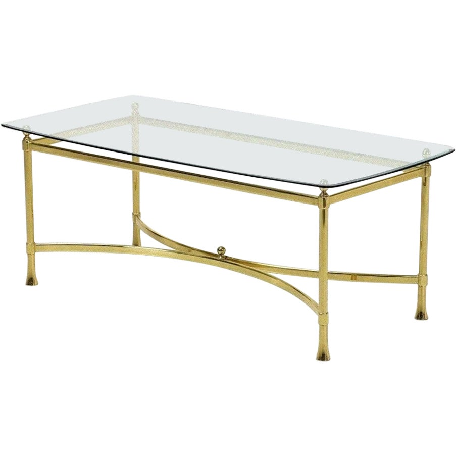 Golden Brass Vintage Coffee Table, Italy, 1950s
