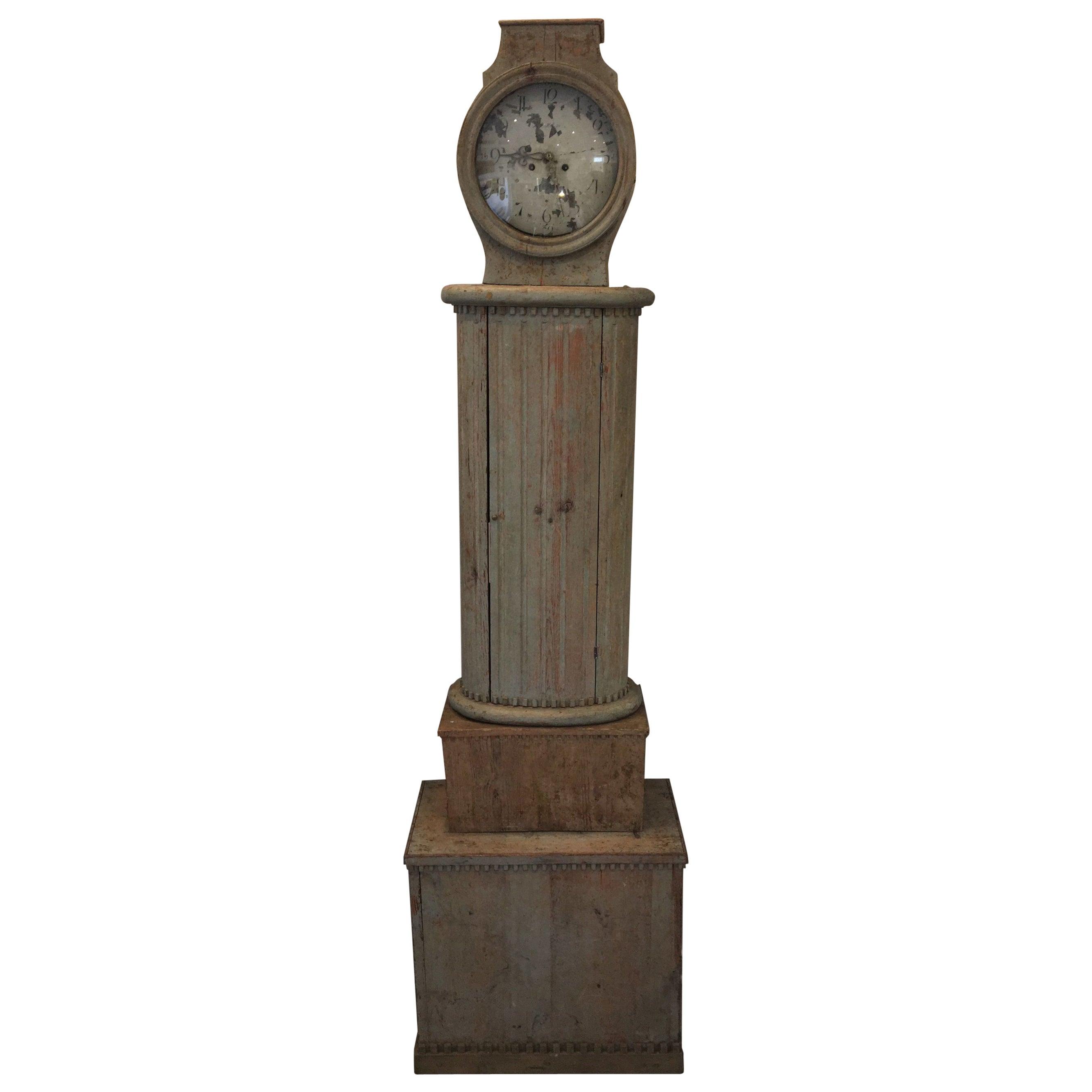 Gustavian Swedish Columnar Tall Case Clock, 18th Century
