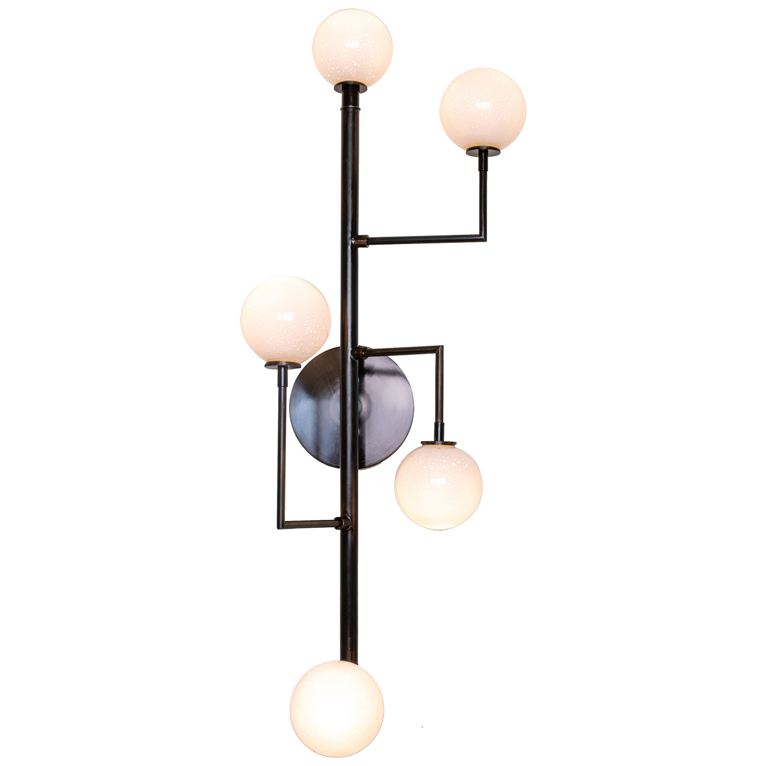 Halo Sconce 5, Brass, Hand Blown Glass Contemporary Wall Sconce, Kalin Asenov
