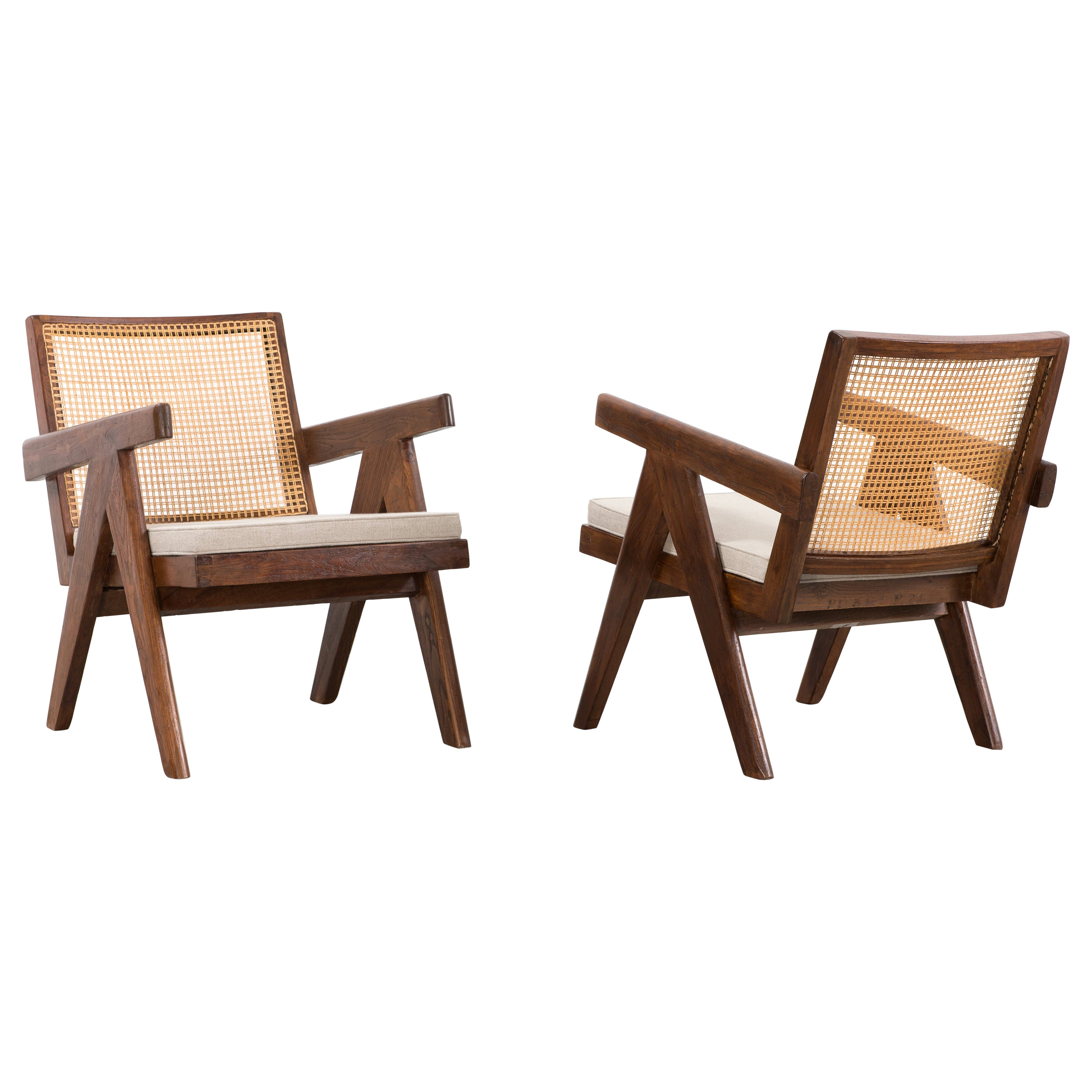 Pierre Jeanneret, Pair of Easy Armchairs, circa 1955-1956
