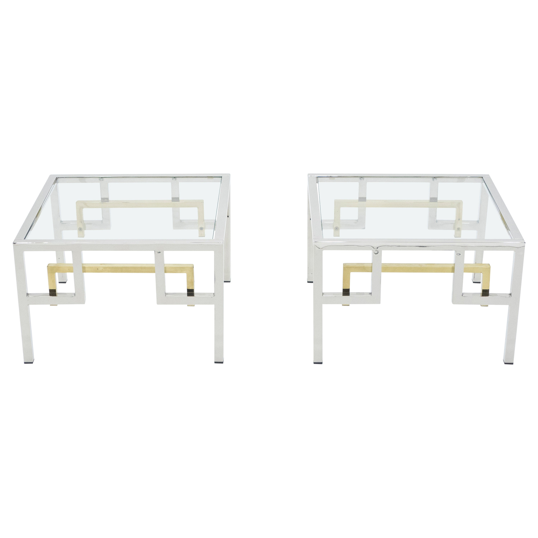 Midcentury Brass Chrome Side Tables by Guy Lefèvre for Maison Jansen, 1970s