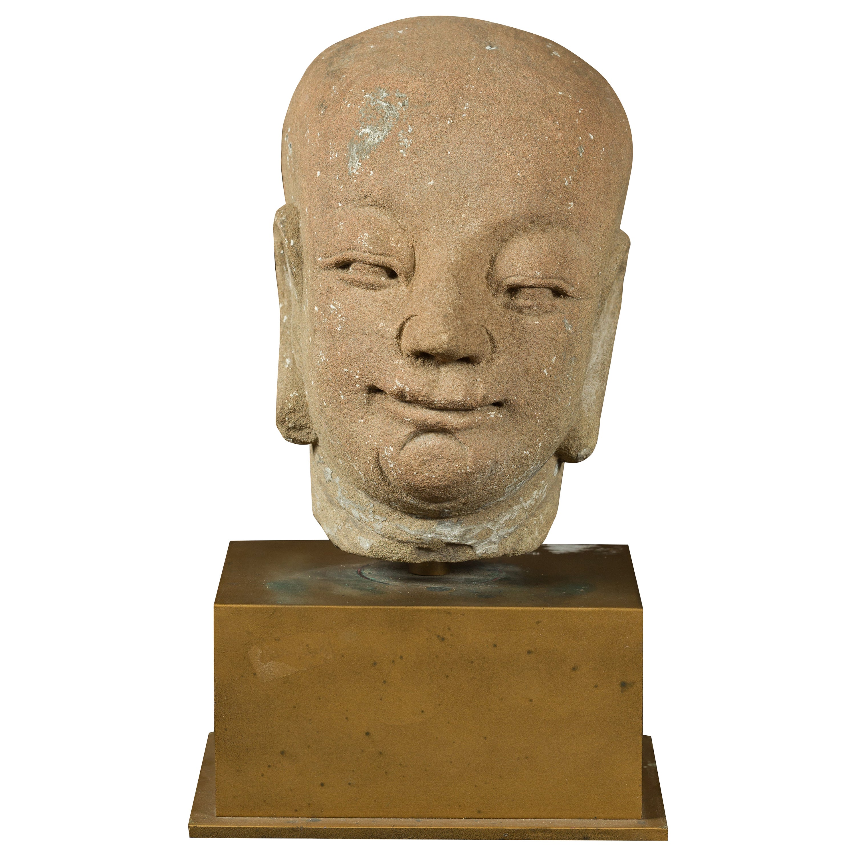 Chinese Ming Dynasty 18th Century Hand Carved Stone Head of a Buddhist Monk