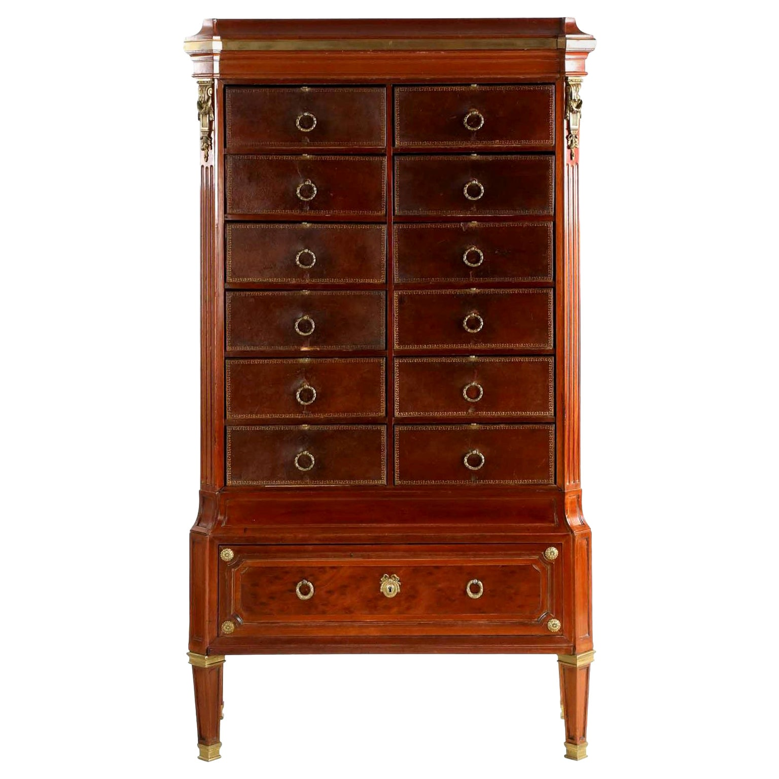 French Neoclassical Mahogany and Leather Antique Chest of Drawers Cartonnier