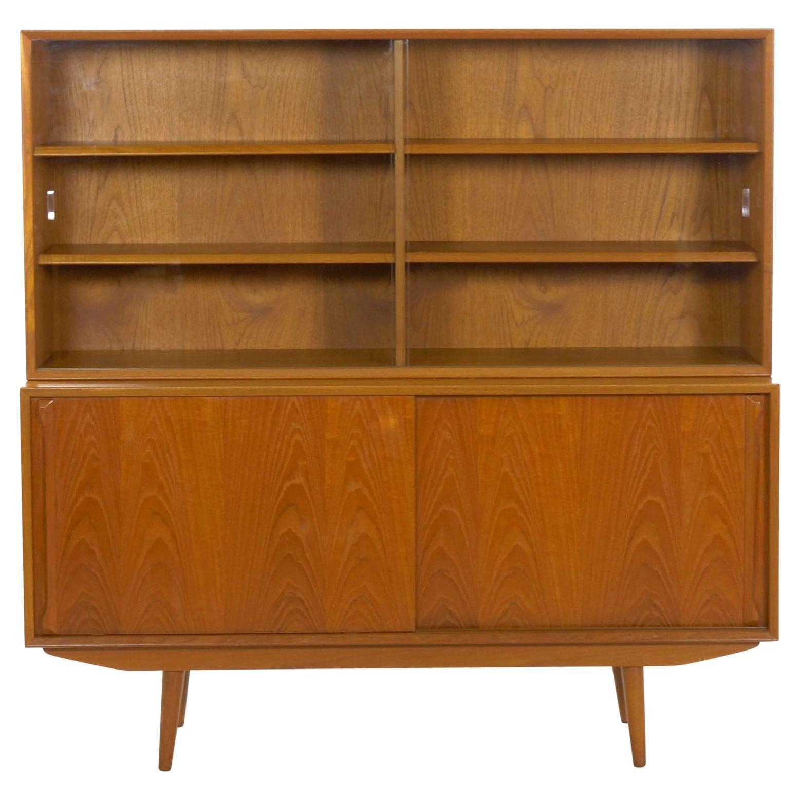 Scandinavian Mid-Century Modern Teak Bookcase Cabinet, circa 1960-1970