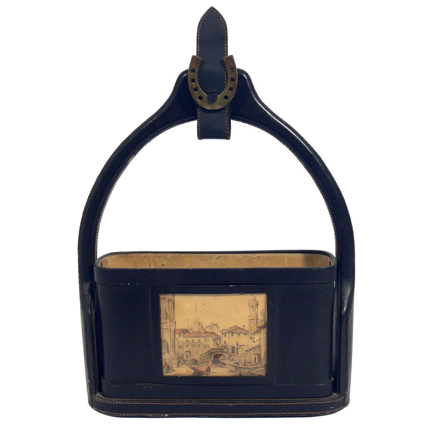 Jacques Adnet Stitched Leather Wine Bottle Holder