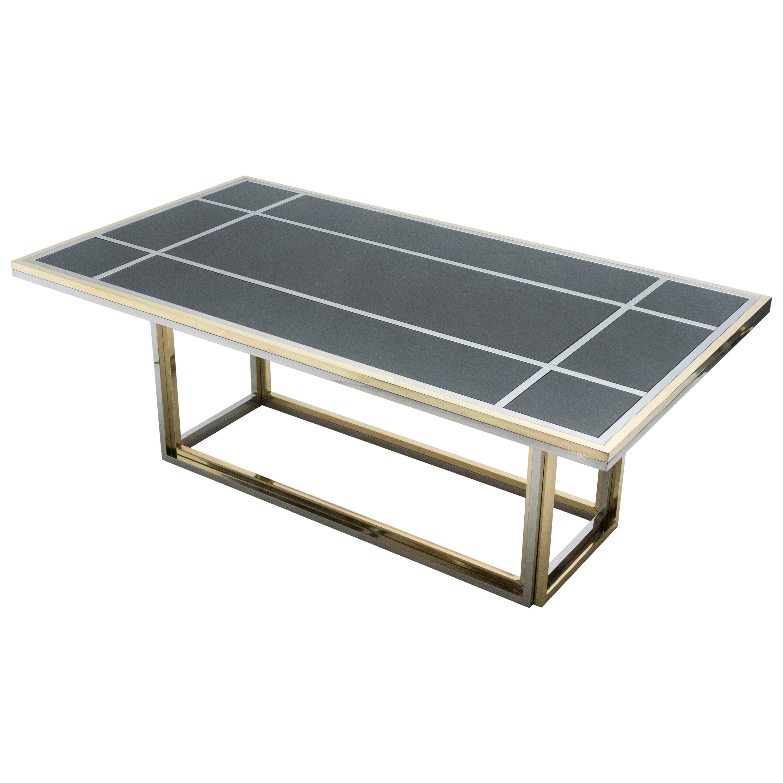 Large Brass Chrome Black Glass Dining Table Romeo Rega, 1970s