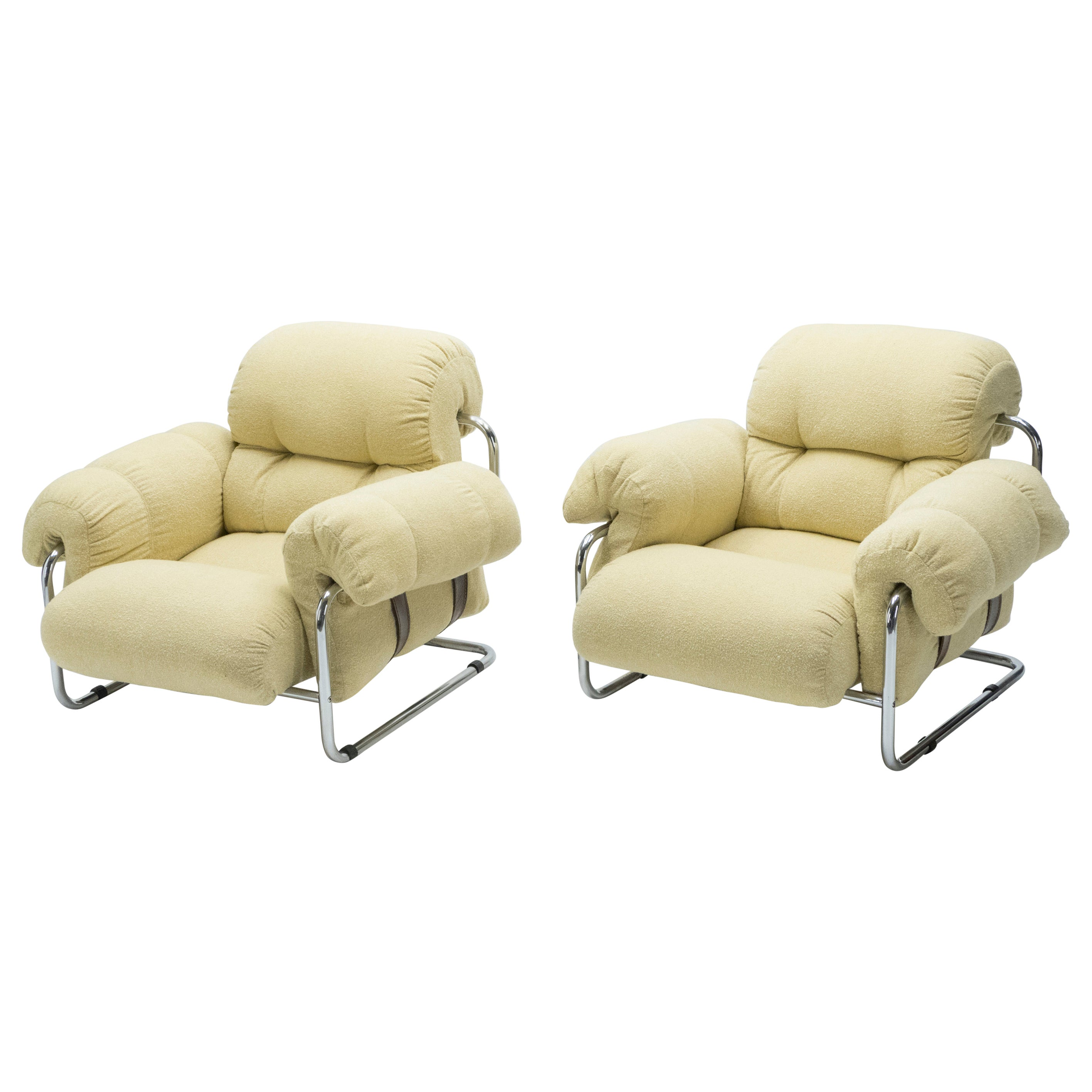 """Rare Pair of Italian """"Tucroma"""" Armchairs by Guido Faleschini for Mariani, 1970s"""
