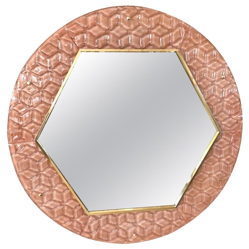 Bespoke Italian Custom Brass and Textured Pink Murano Glass Modern Round Mirror