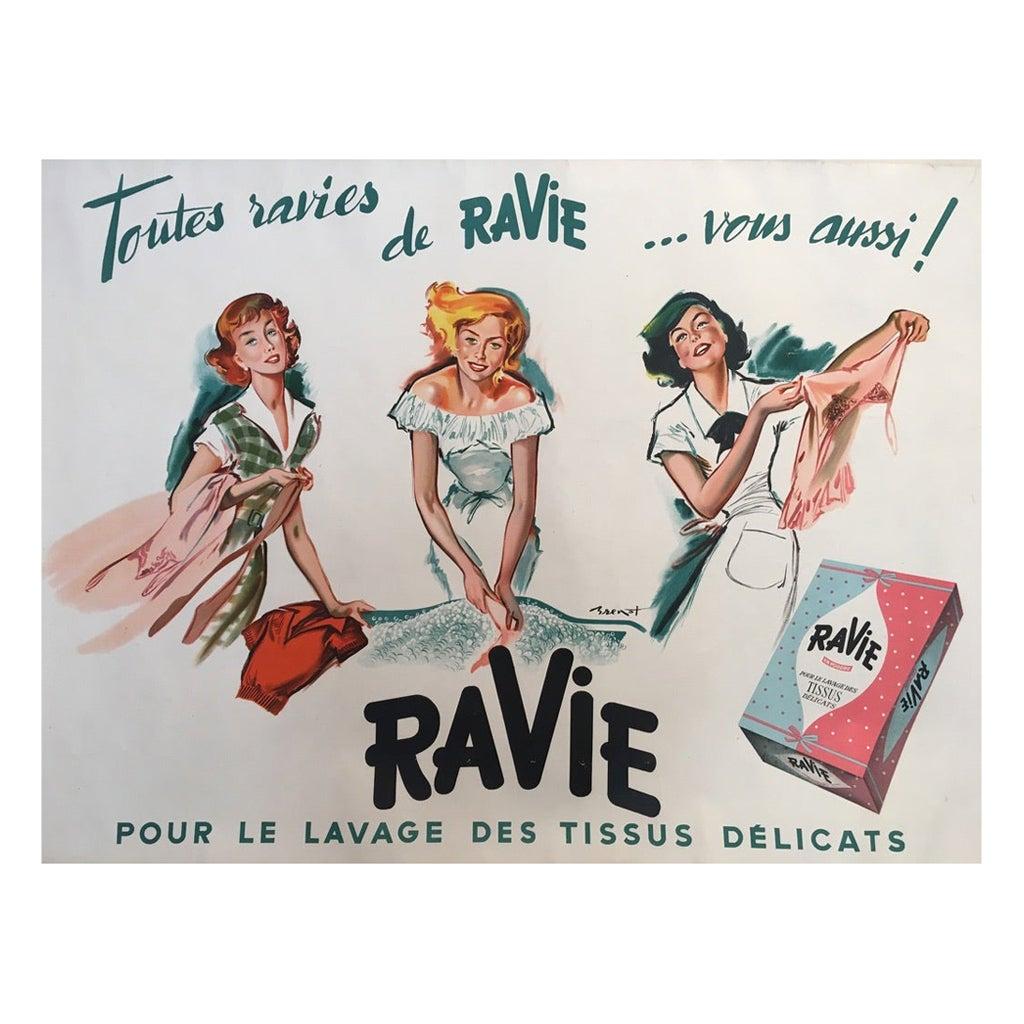 Original Vintage French Advertisement Poster Ravi Washing Powder Pierre Brenot