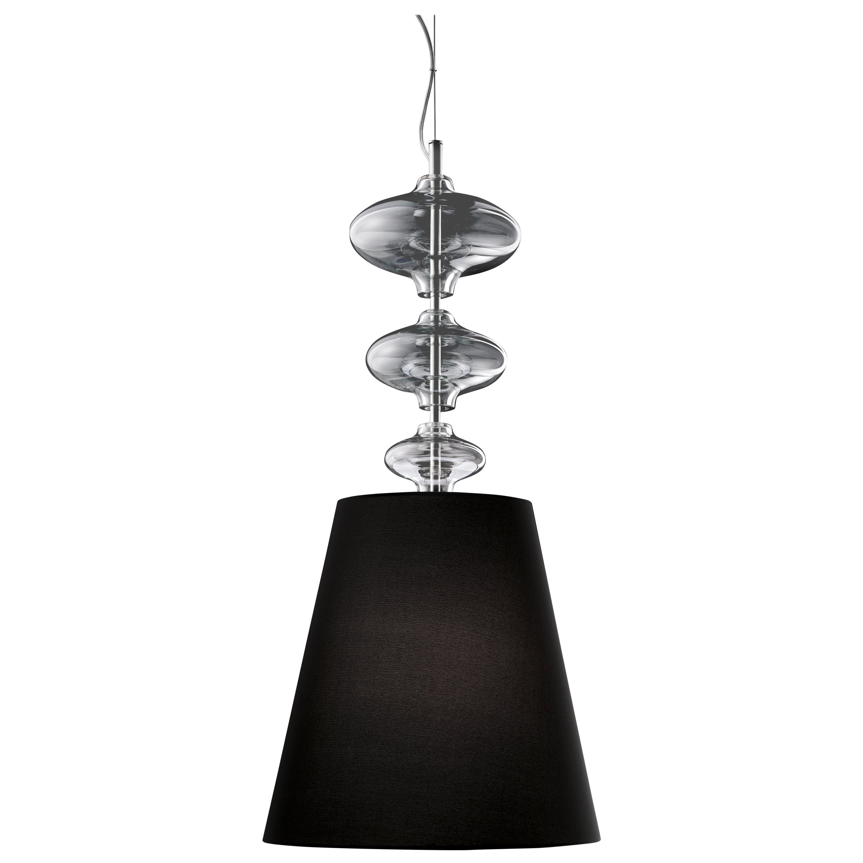 Eva 7057 Suspension Lamp in Glass with Black Shade, by Barovier&Toso