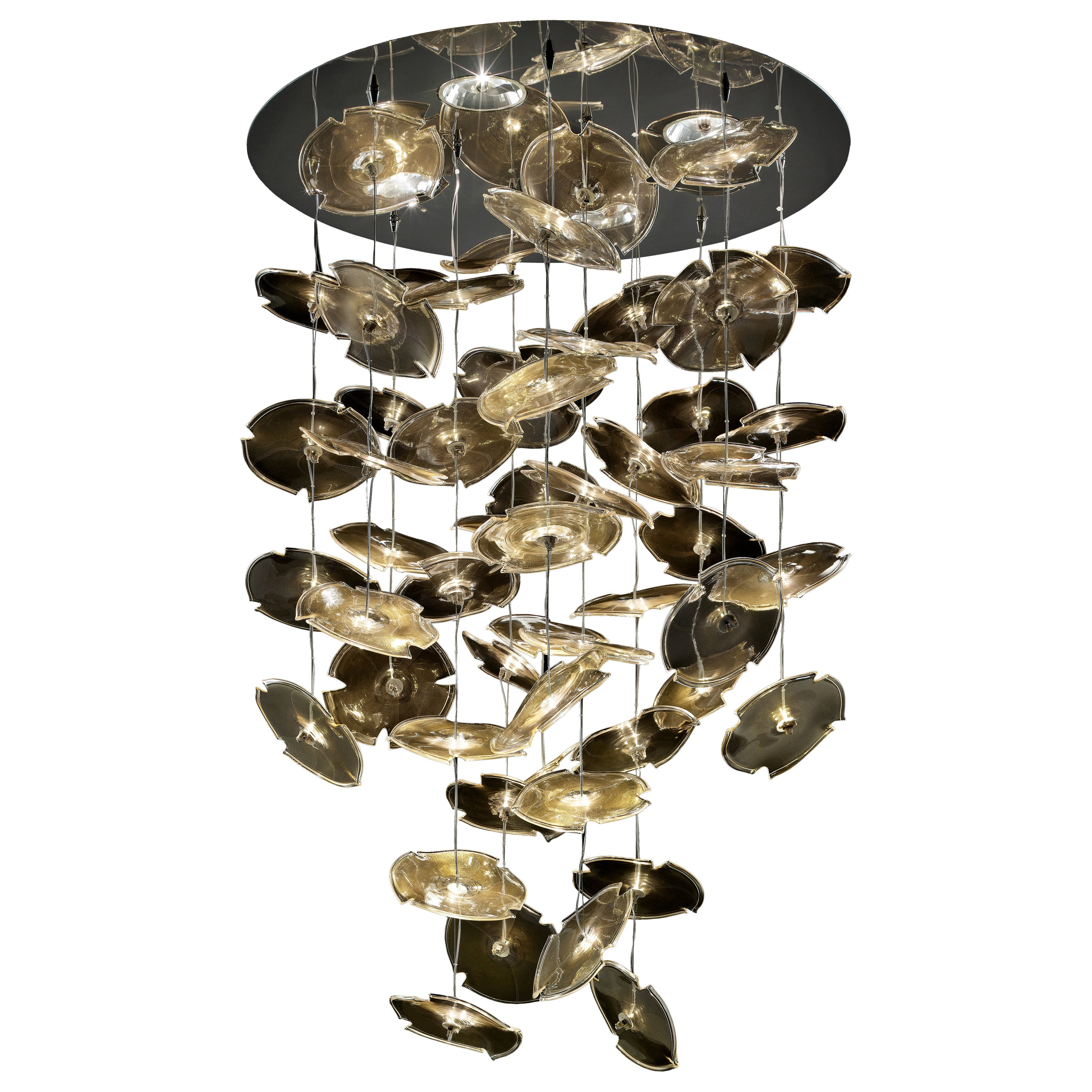 Exagon 7126 Suspension Lamp in Glass with Polished Chrome, by Barovier&Toso