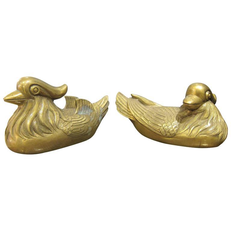 Pair of Bronze Prosperity Birds