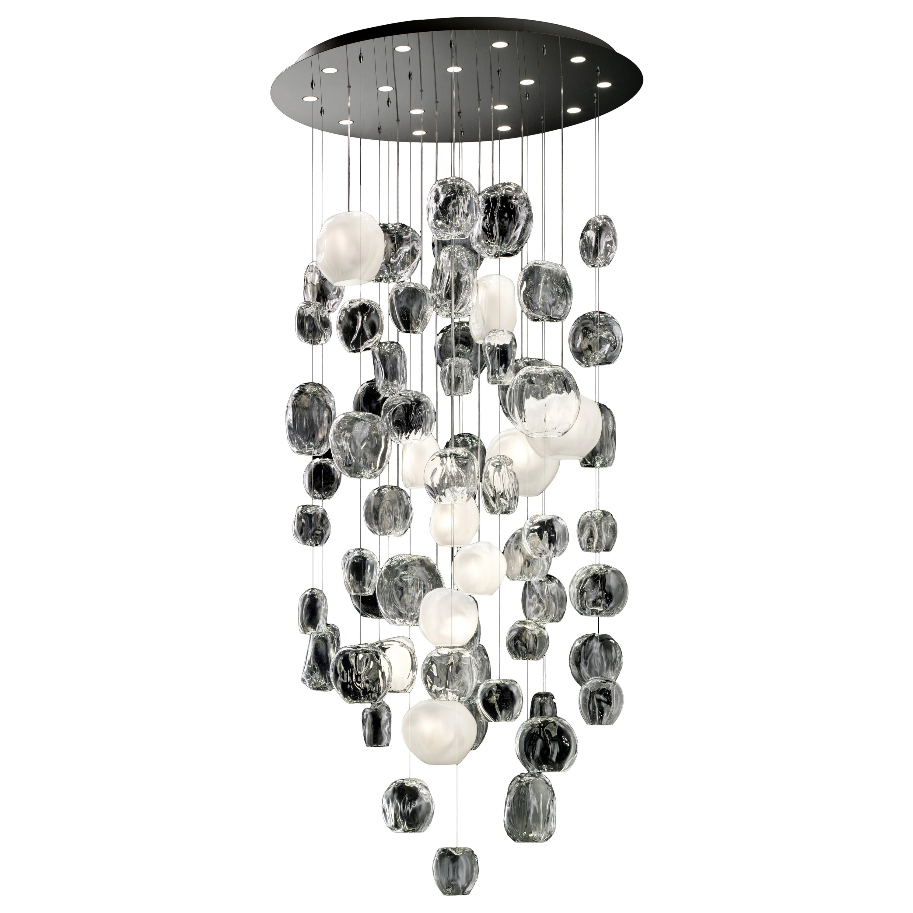 Hanami 7298 Suspension Lamp in Glass and Polished Chrome, by Barovier&Toso