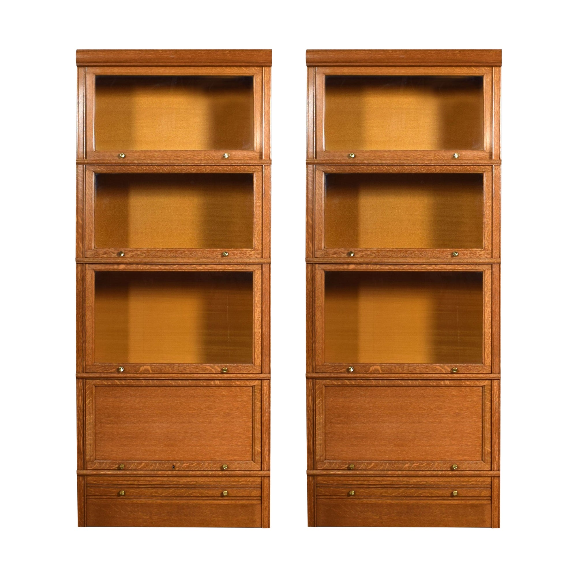 Pair of Large Oak Four Sectional Bookcases