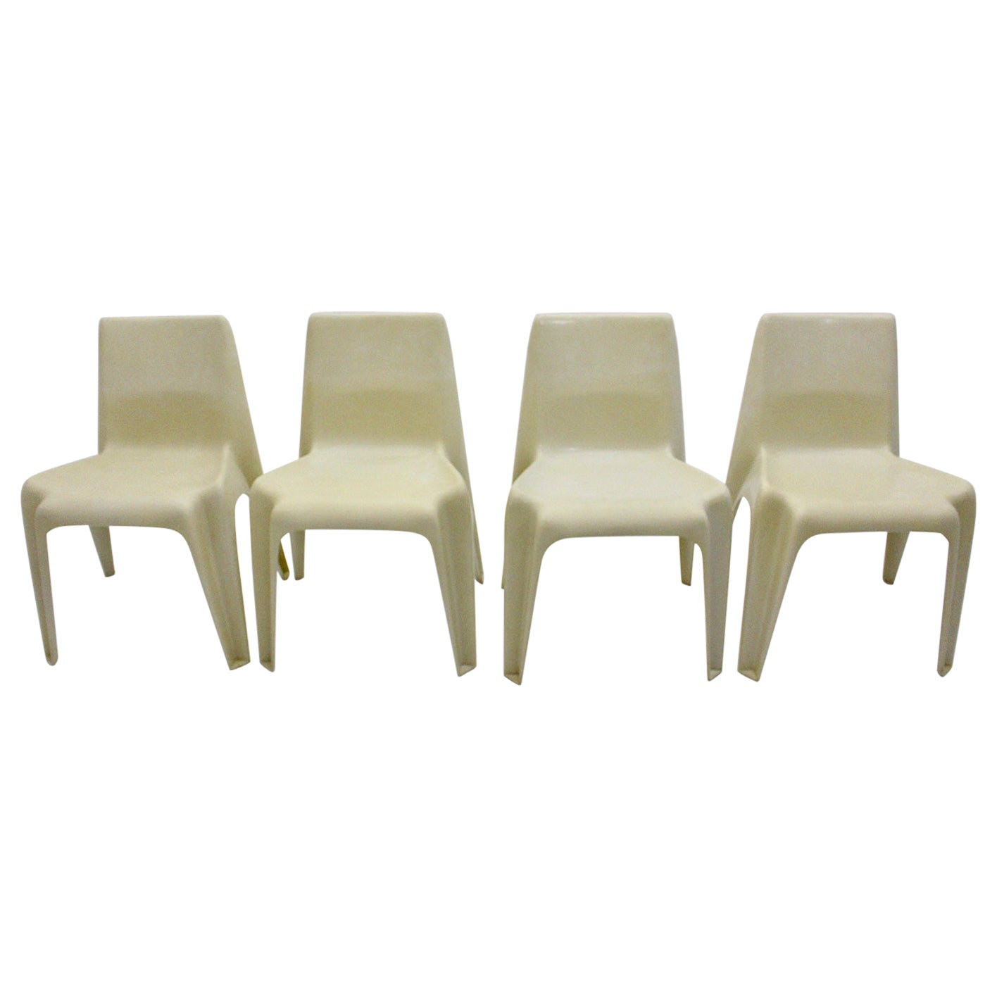 Space Age Vintage White Plastic Four Dining Chairs Helmuth Bätzner 1960s Germany