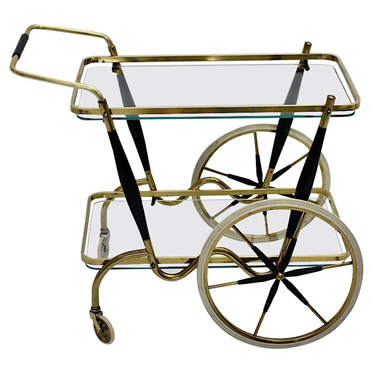 Mid-Century Modern Vintage Brass Beechwood Bar Cart, 1950s, Italy