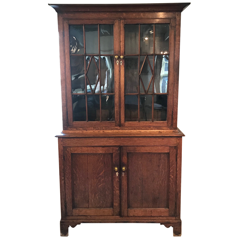 Early Oak British Bookshelf or Display Cabinet with Original Glass