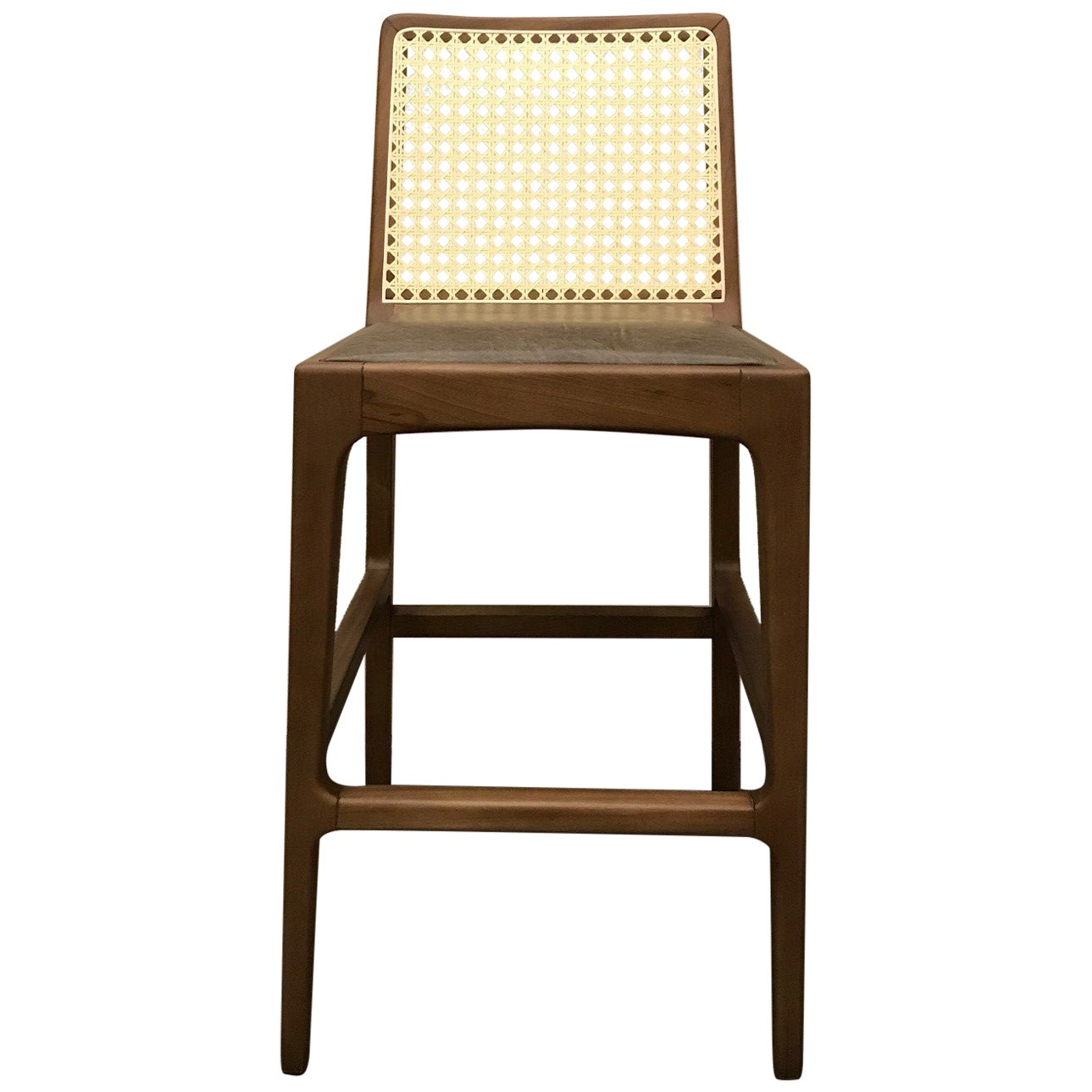"""""""Julia"""" Stool in Solid Wood and Customized Handwoven"""