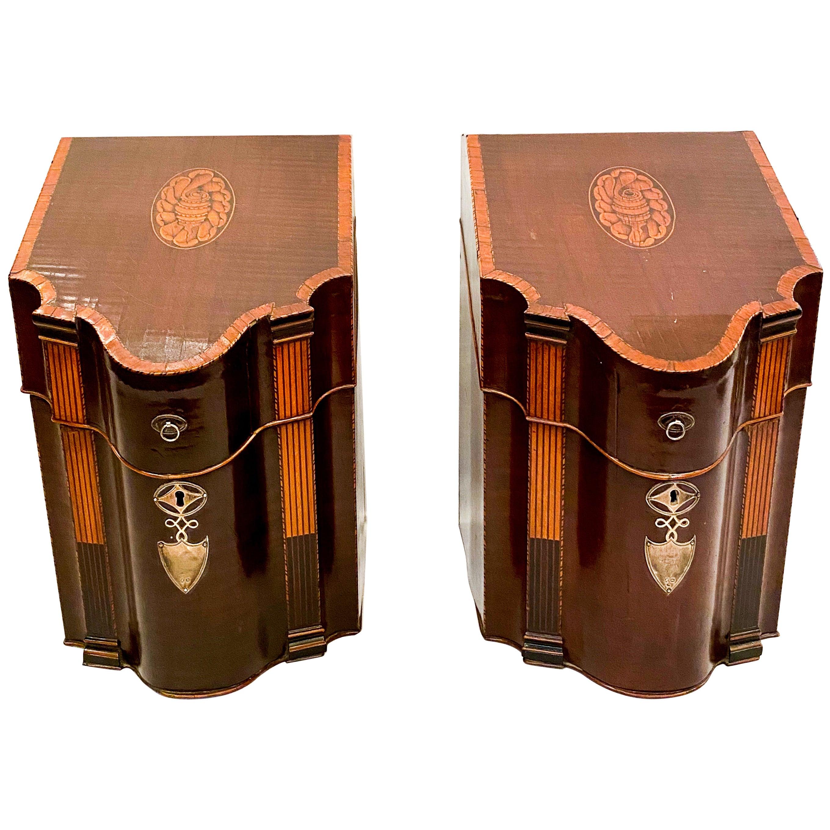 Pair of Antique English Mahogany Sheraton Knife Boxes with Satinwood, circa 1860
