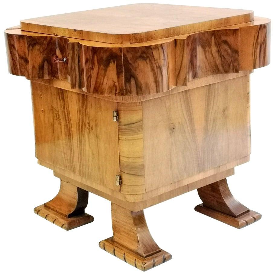 Art Deco Walnut Wood Cabinet, 1930s