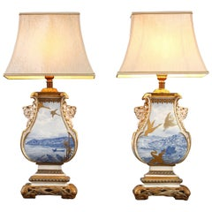 Pair of Royal Worcester Porcelain Lamp-Mounted Vases, England, 1877
