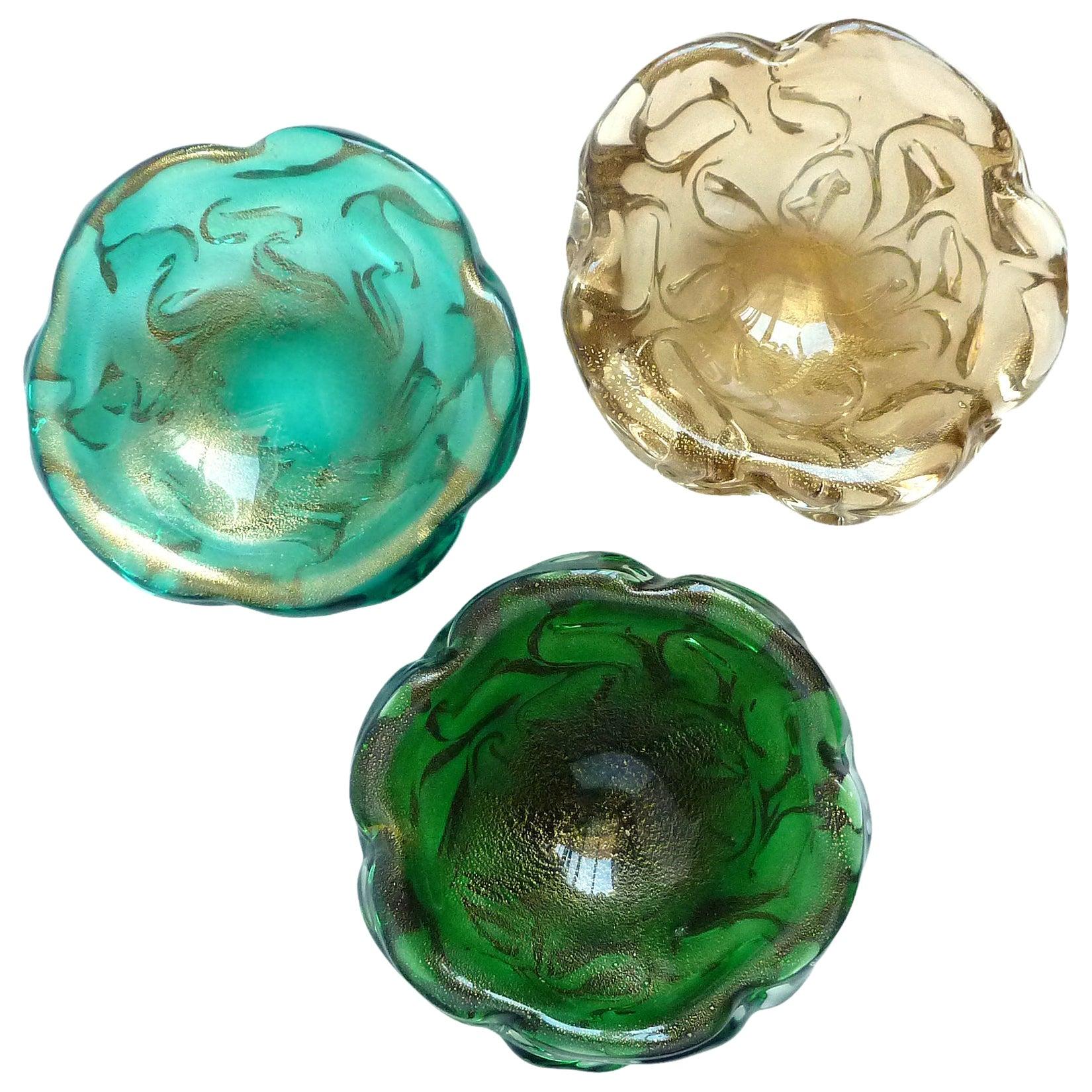 Seguso Vetri d'Arte Murano Gold Flecks Coral Design Italian Art Glass Ring Bowls