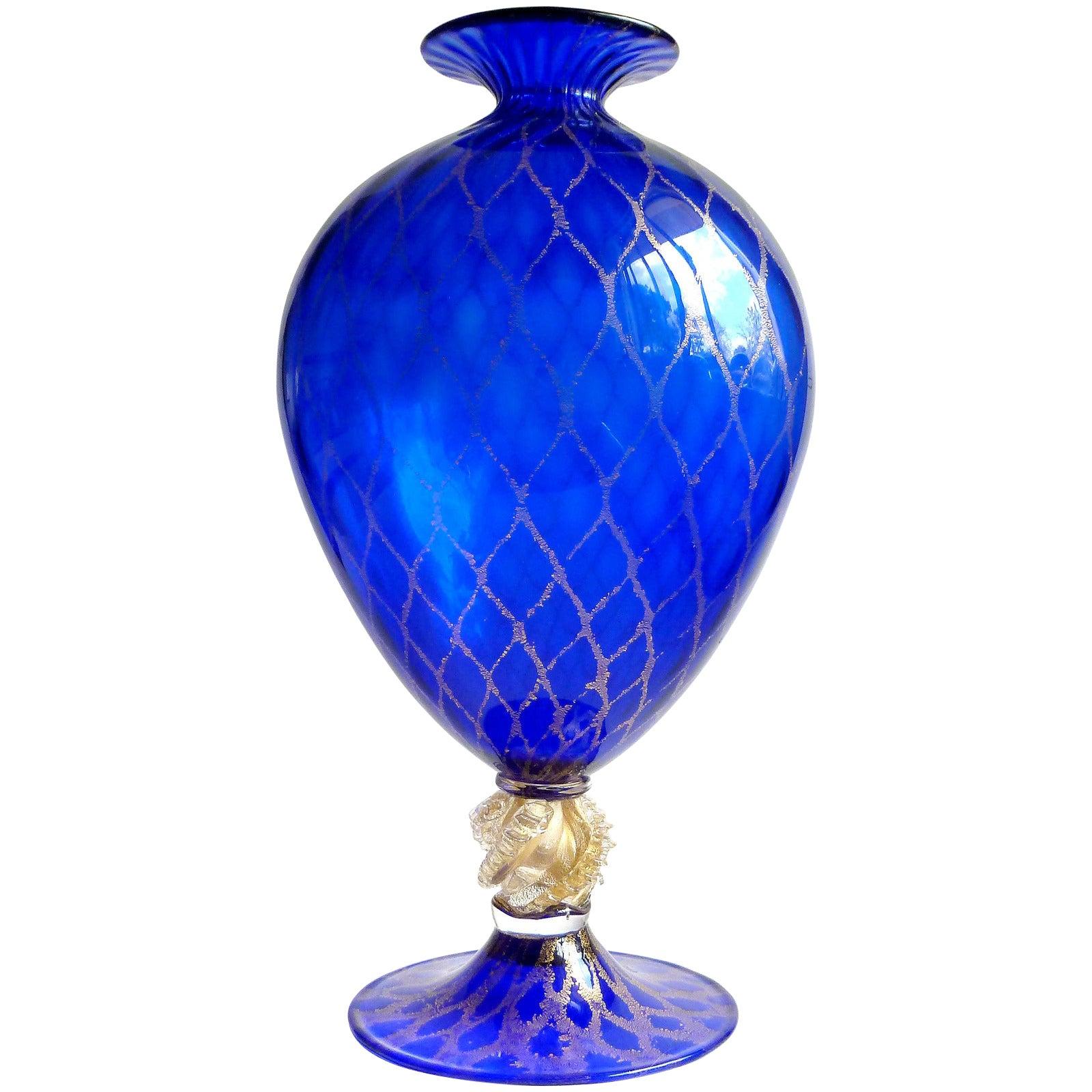 Nason Murano Sapphire Blue Gold Flecks Diamond Design Italian Art Glass Vase