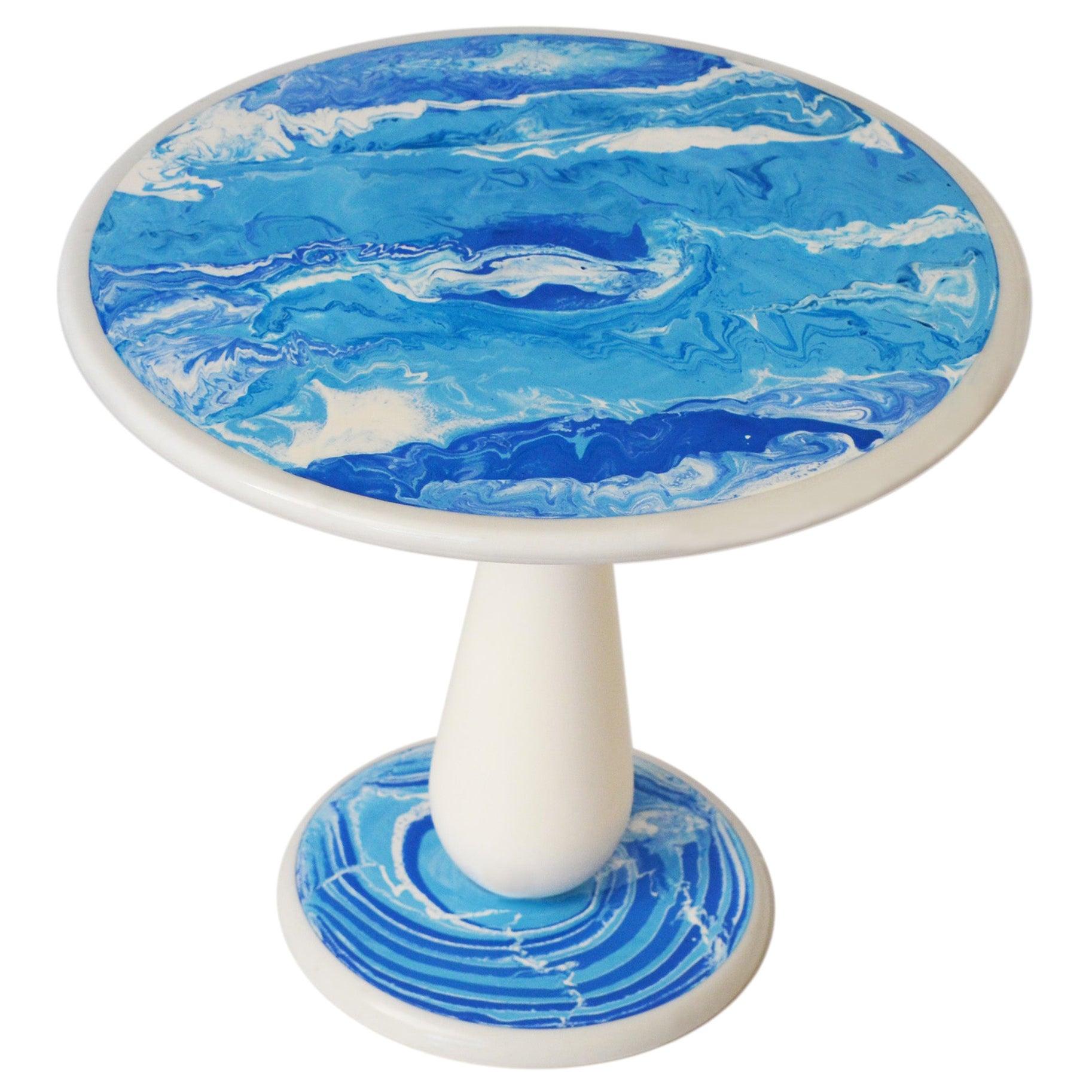 Round Modern Table White Marble Wooden Column Handmade Scagliola Art Decoration