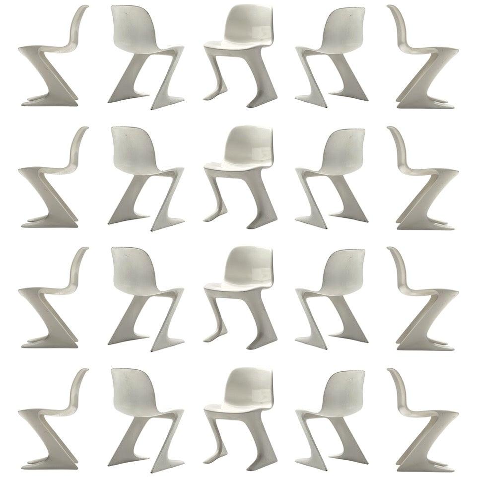 Large Set of Ernst Moeckl White Kangaroo Chairs + 100