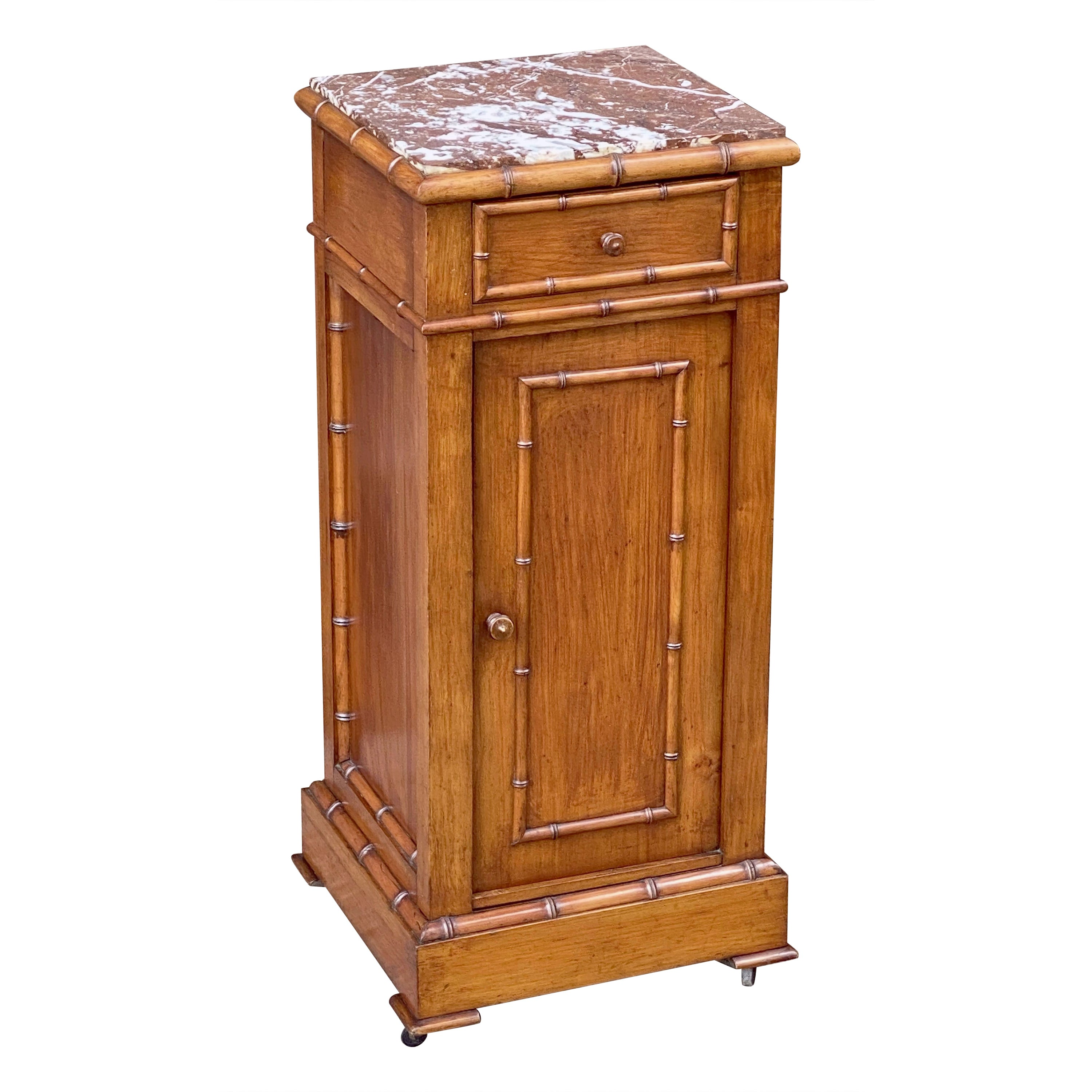 French Faux Bamboo Nightstand or Bedside Table with Marble Top