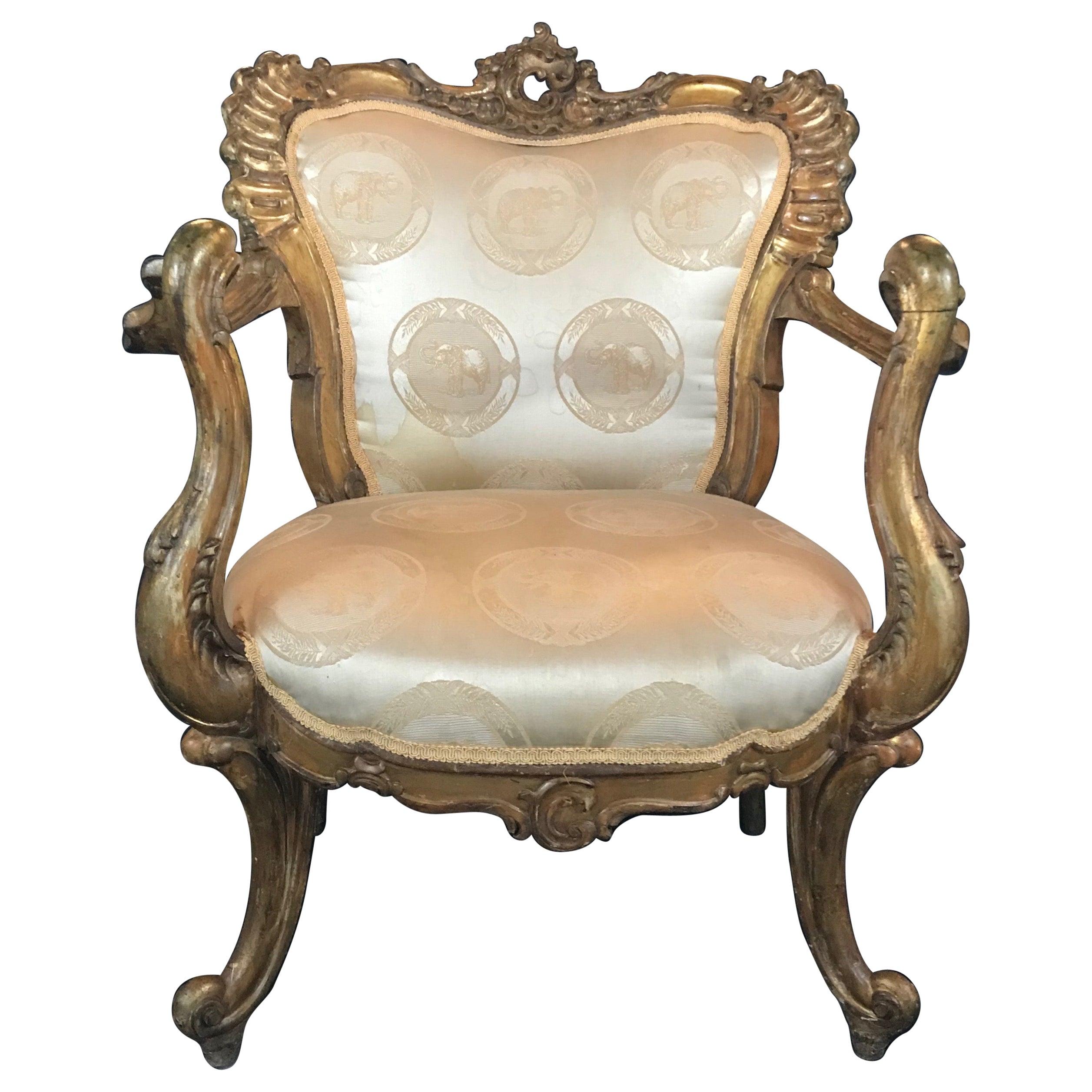 Very Glamorous Italian Neoclassical Venetian Style Carved Chair Bergère