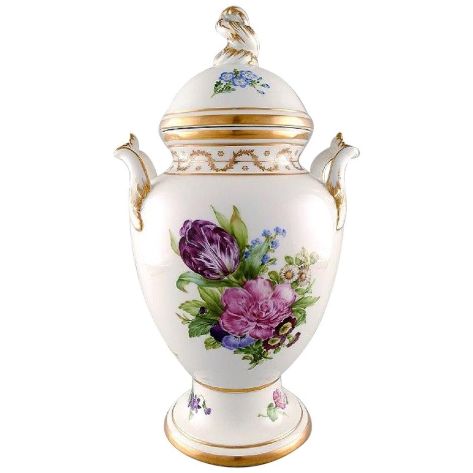 Royal Copenhagen, Antique Baluster Shaped Porcelain Lidded Vase, 19th Century
